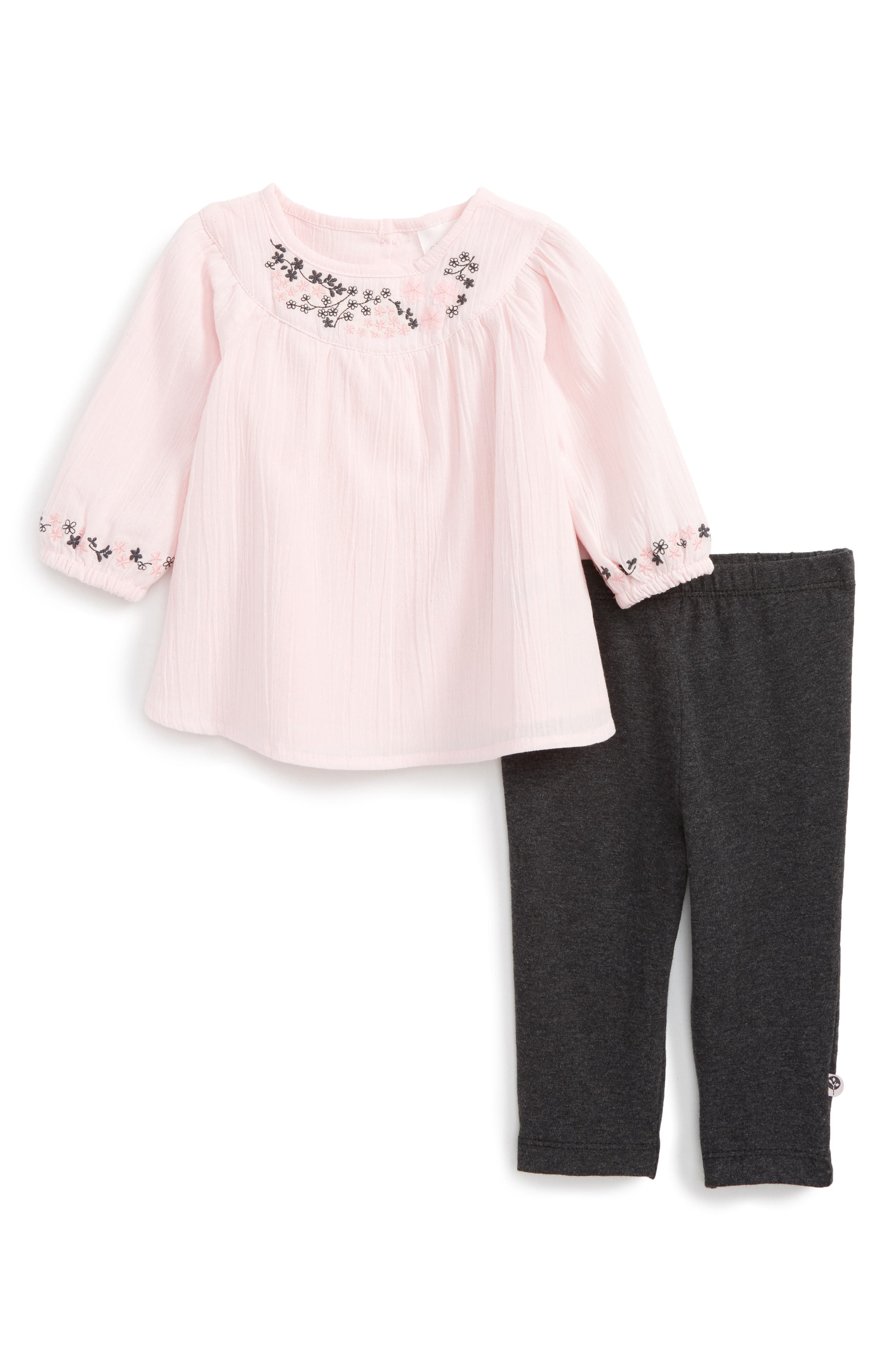 Embroidered Tunic & Leggings Set,                         Main,                         color, Pink Multi