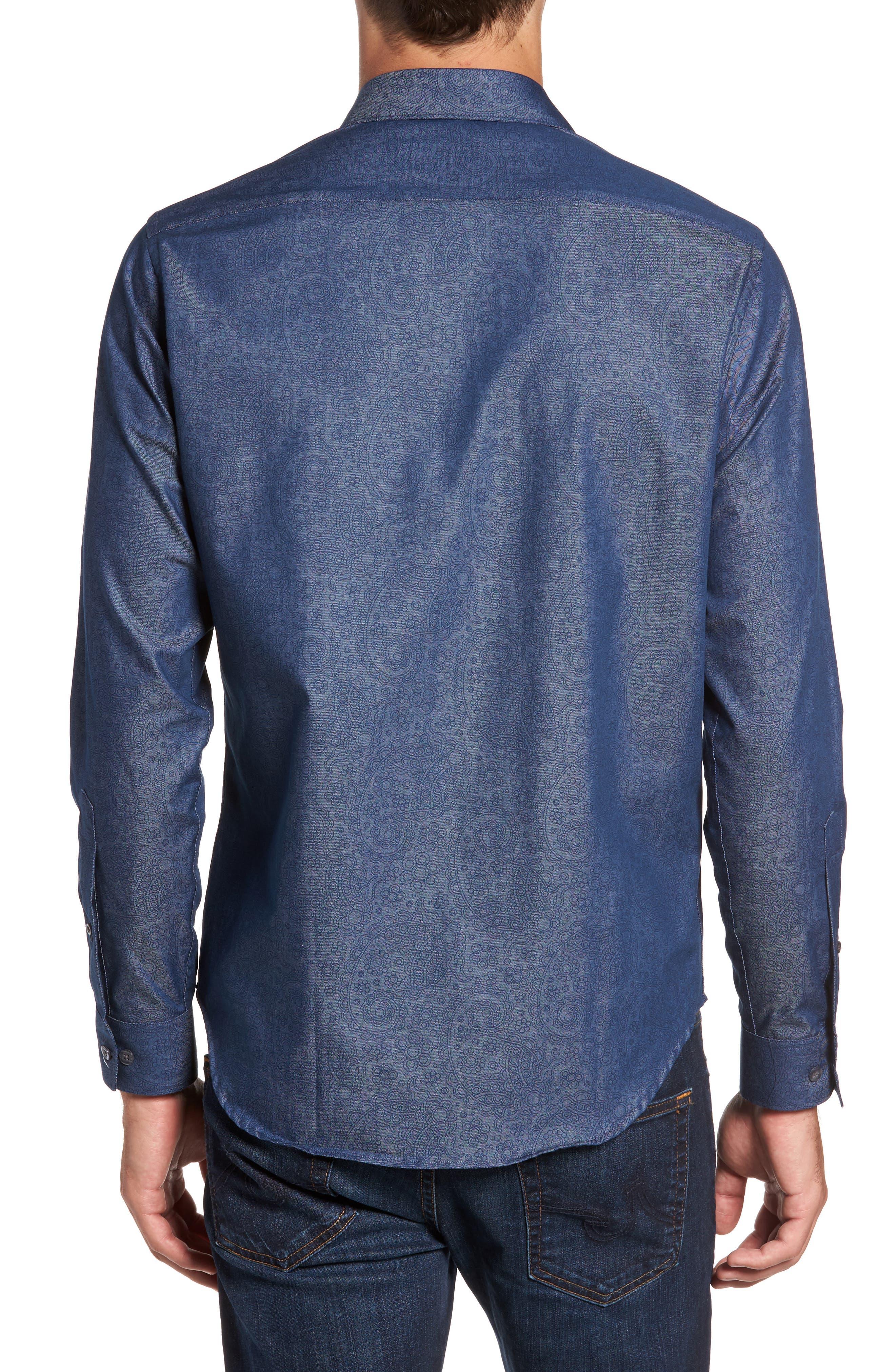 Alternate Image 2  - Jeff Edison Slim Fit Paisley Print Sport Shirt