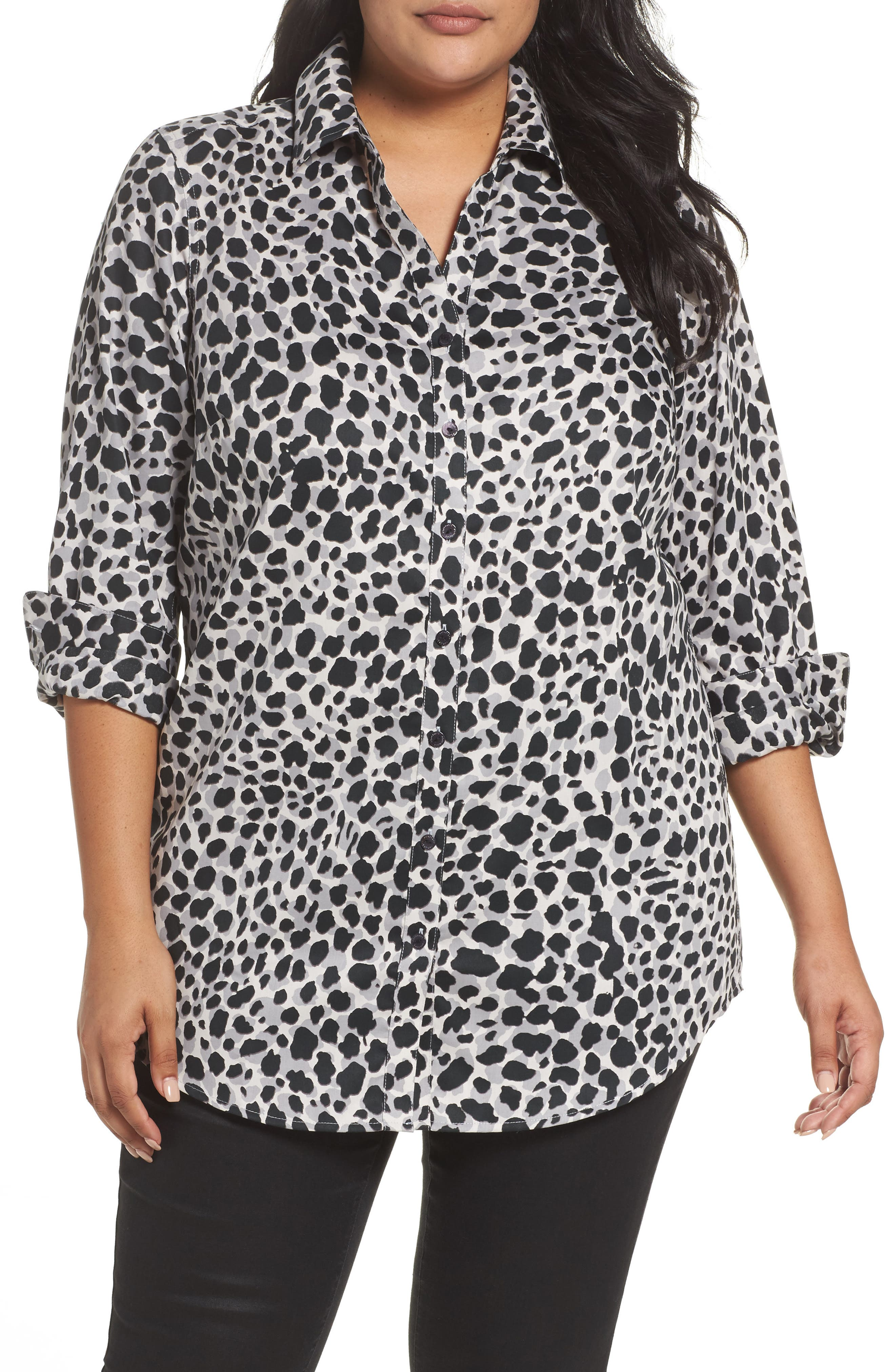 Foxcroft Fay Animal Print Cotton Tunic Shirt (Plus Size)
