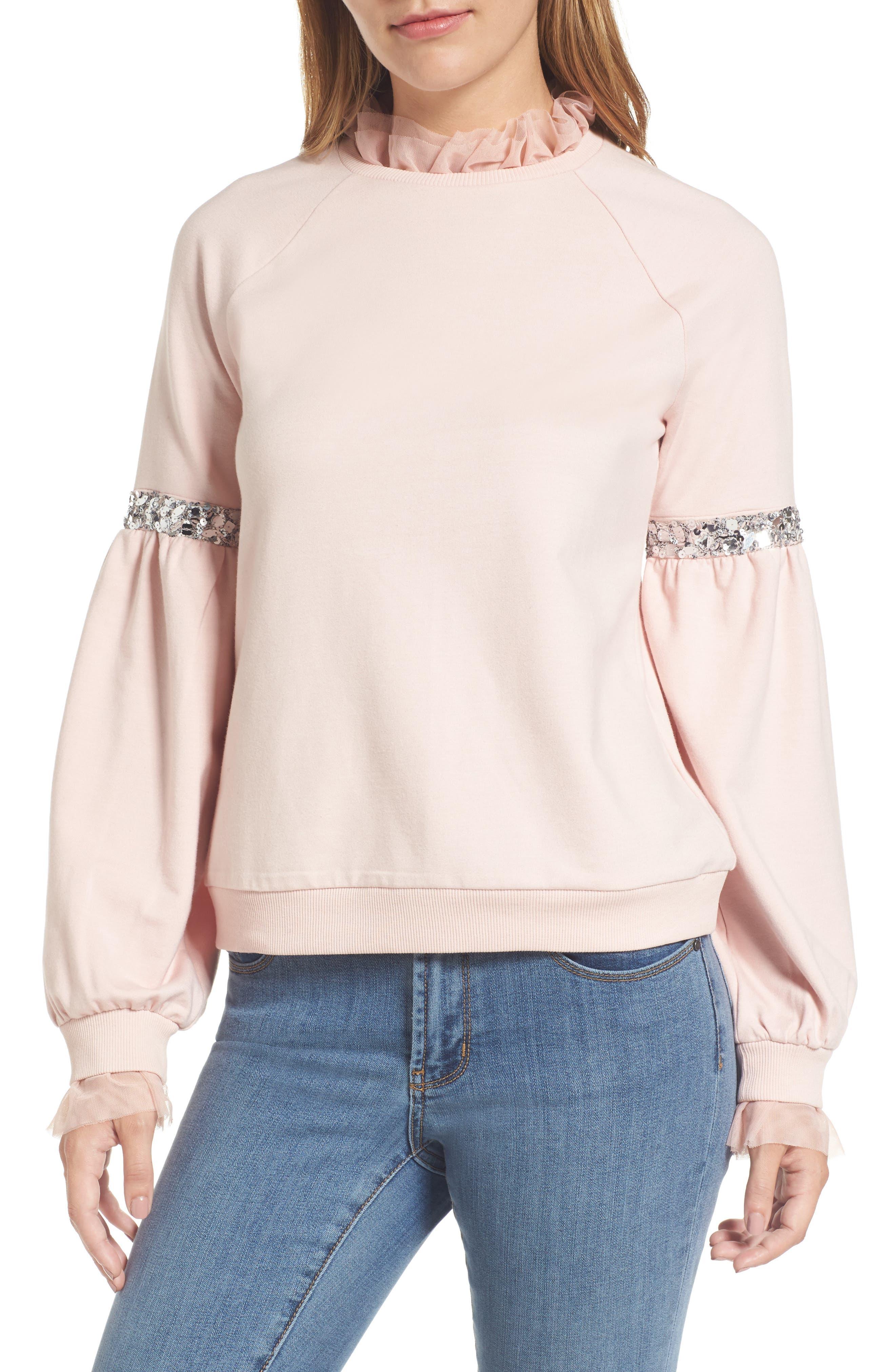 Halogen® Tulle and Sequin Sweatshirt