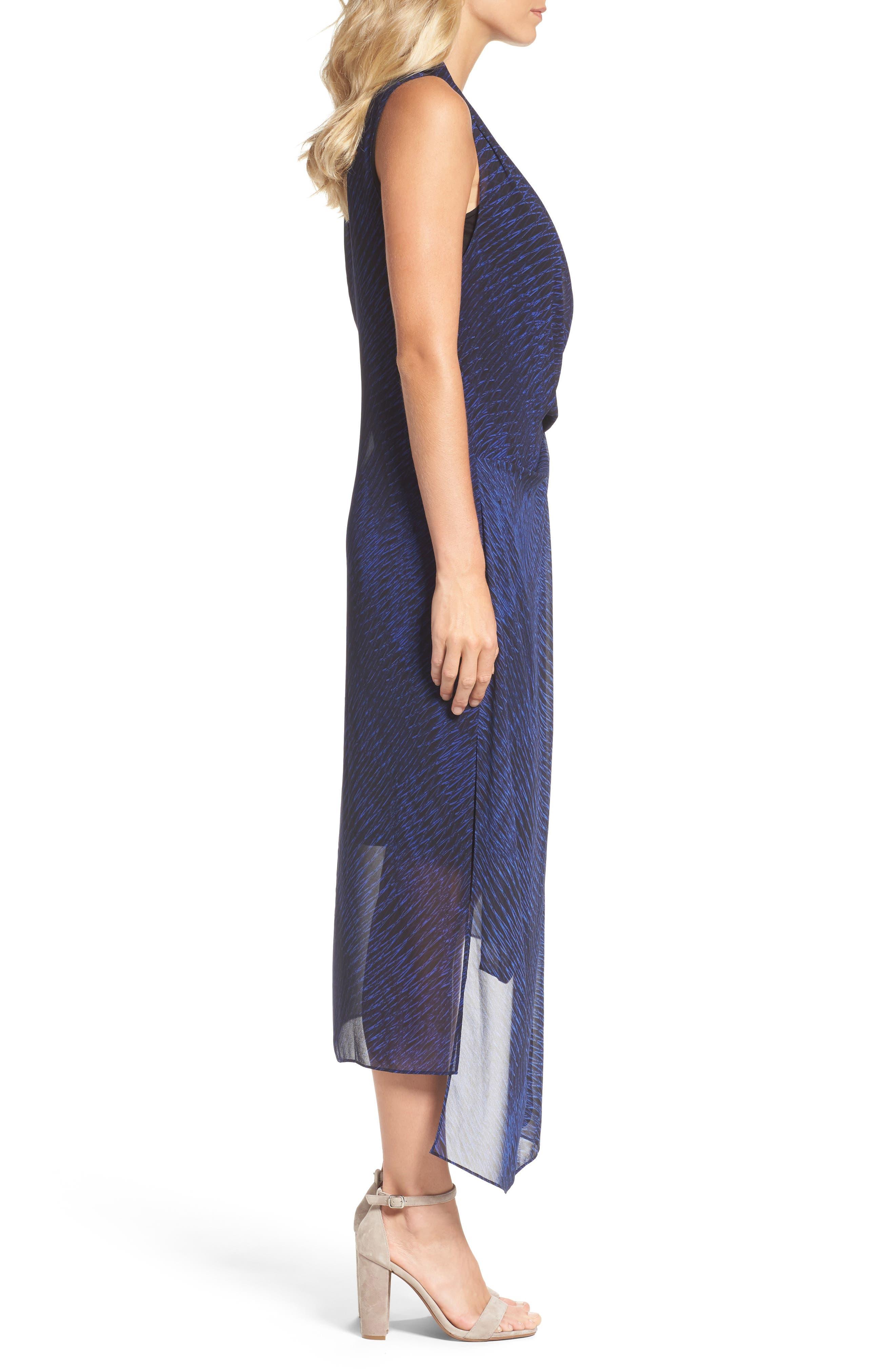 Blue Streaks Midi Dress,                             Alternate thumbnail 3, color,                             Blue Roma