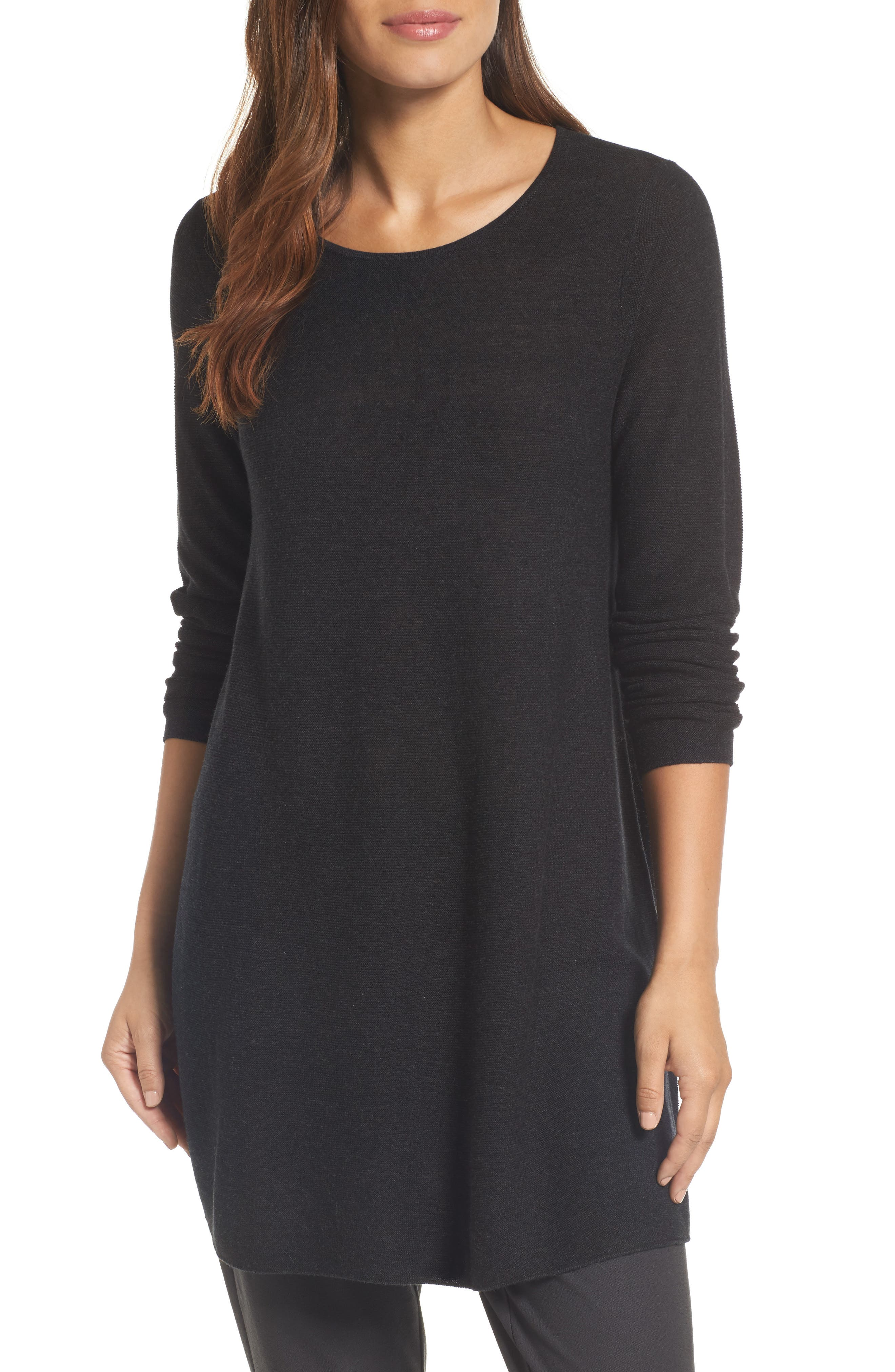 Eileen Fisher Jewel Neck Tunic Sweater