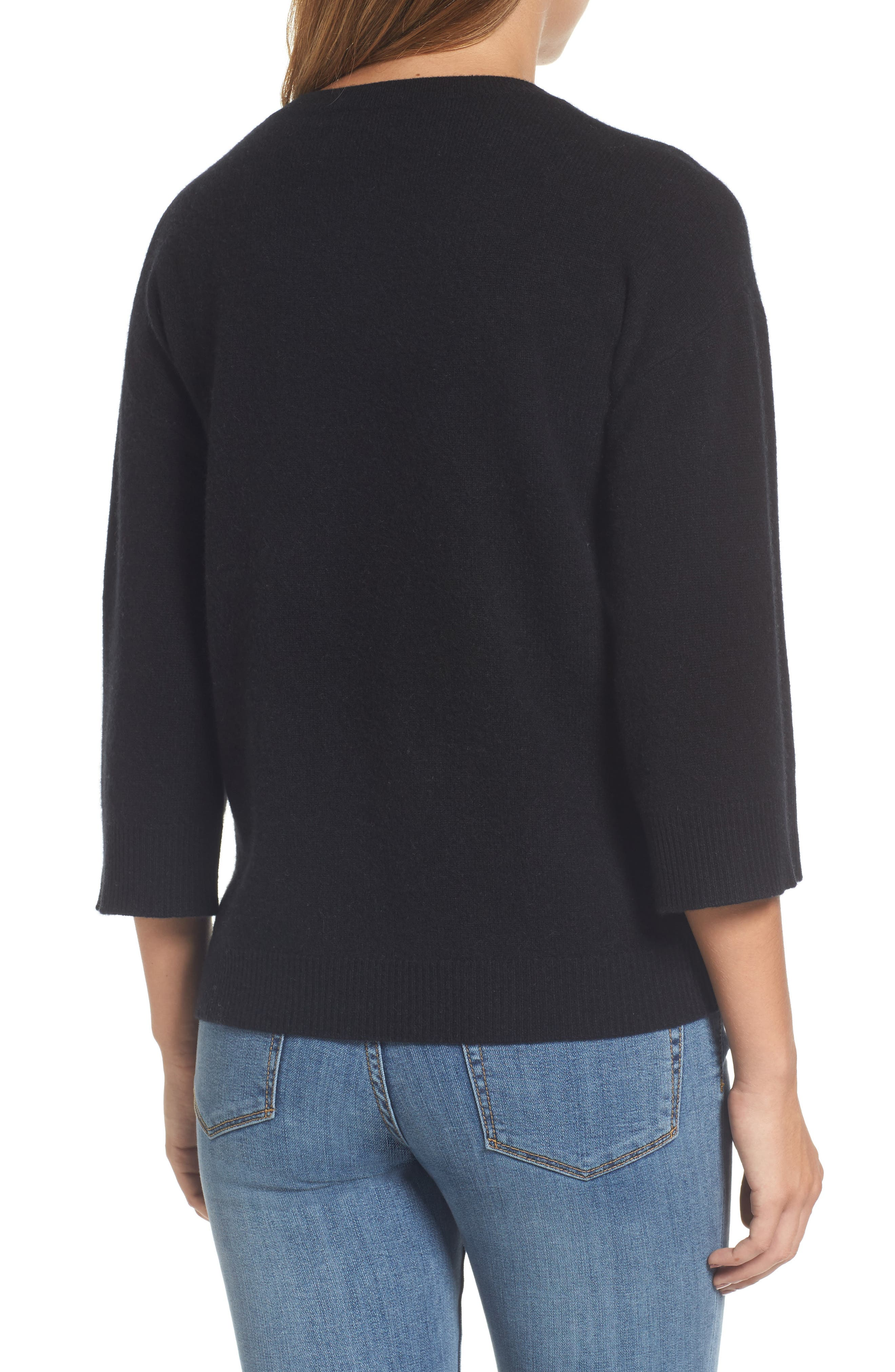 Side Tie Wool and Cashmere Sweater,                             Alternate thumbnail 2, color,                             Black