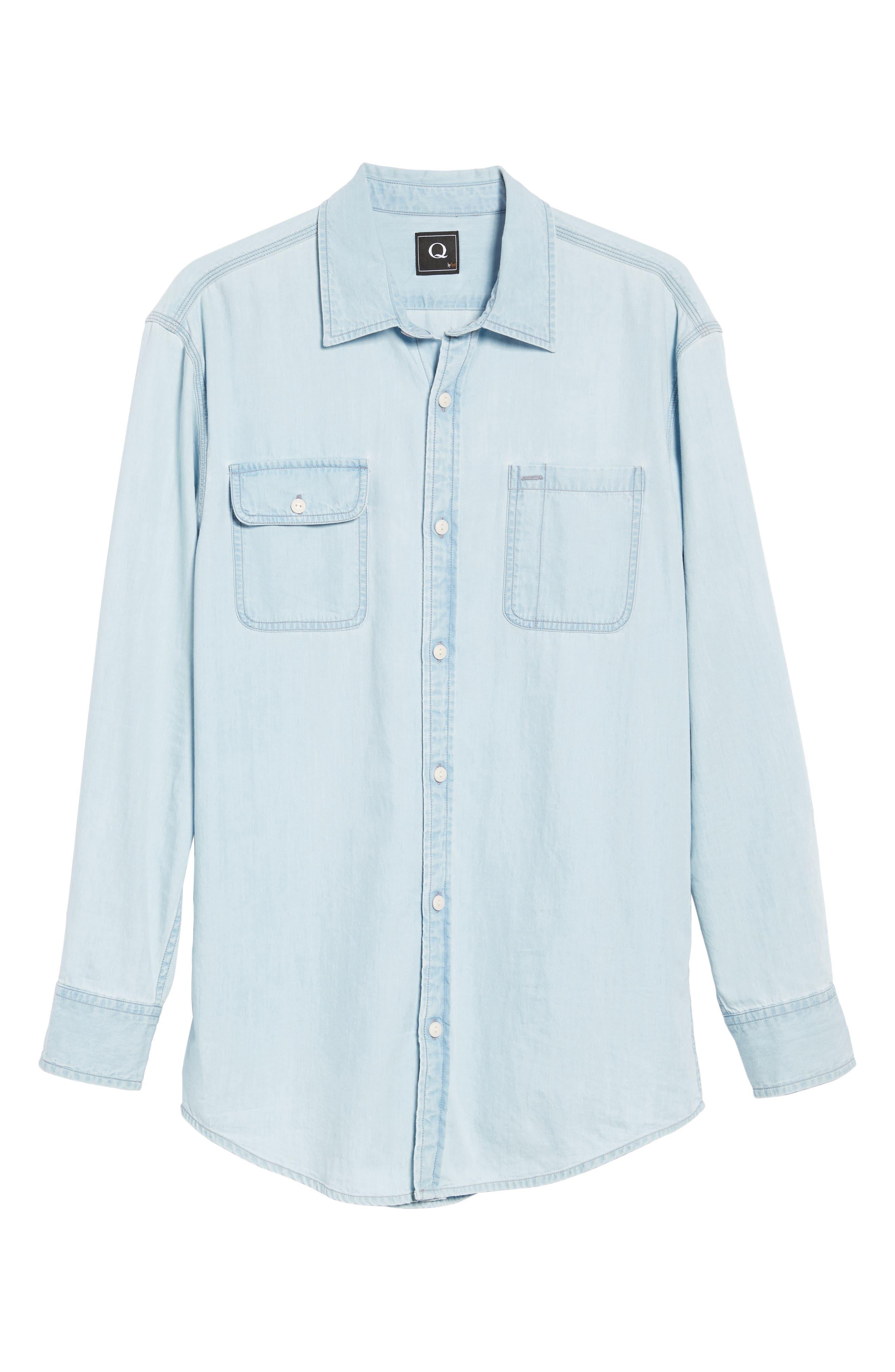 Regular Denim Sport Shirt,                             Alternate thumbnail 6, color,                             Light Blue