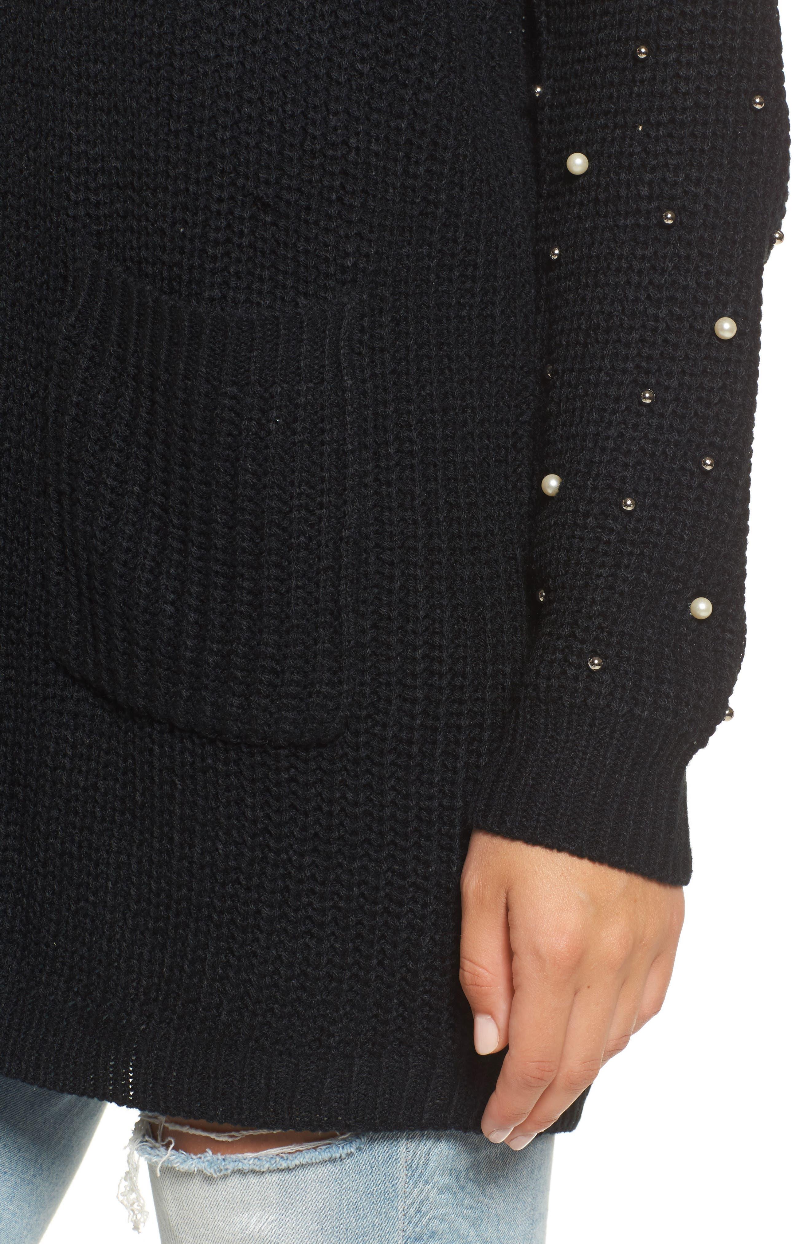 Faux Pearl Detail Cardigan,                             Alternate thumbnail 4, color,                             Black