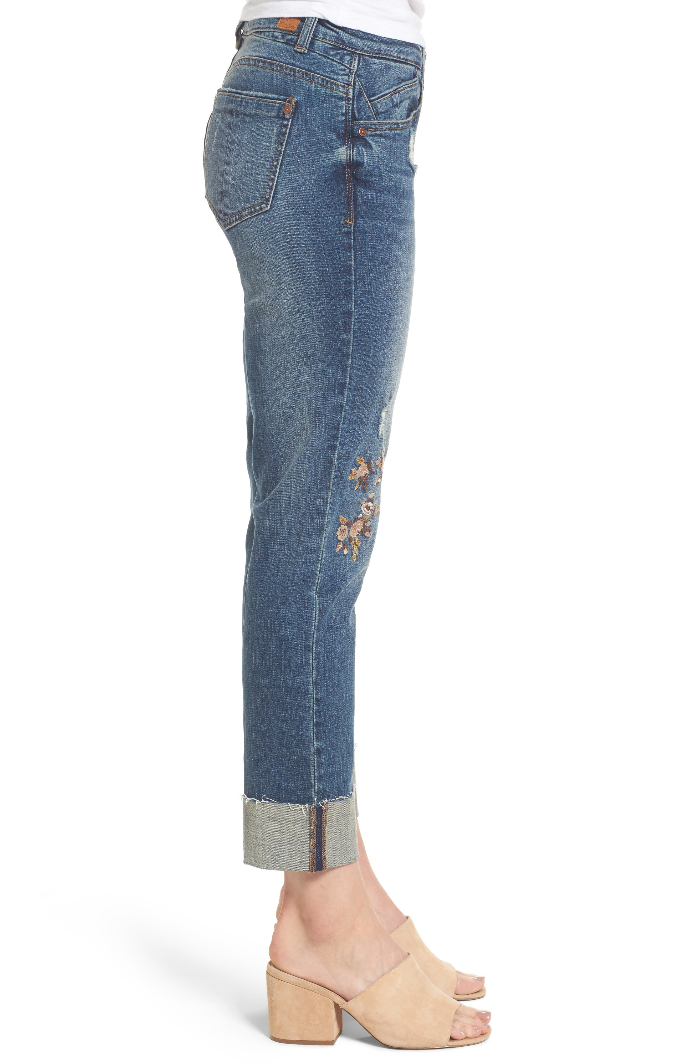 Flex-ellent Embroidered Boyfriend Jeans,                             Alternate thumbnail 3, color,                             Blue