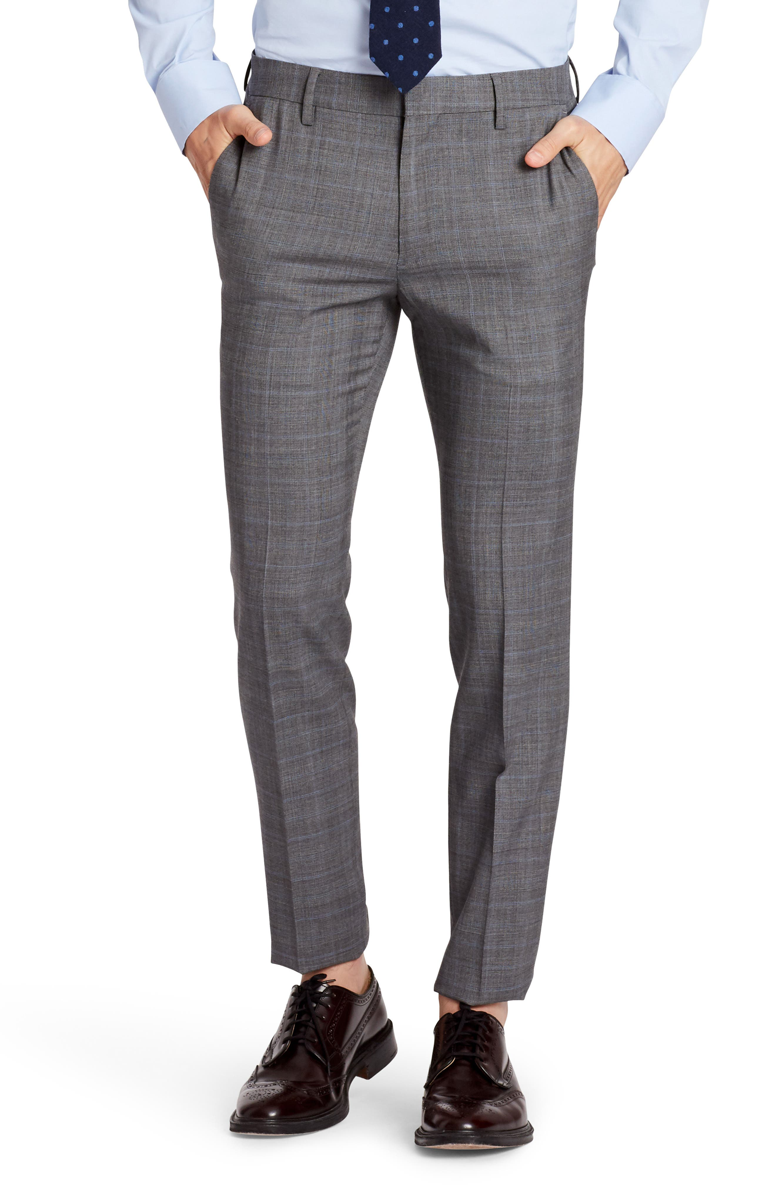 Jetsetter Flat Front Plaid Stretch Wool Trousers,                         Main,                         color, Mid Grey Glen Plaid