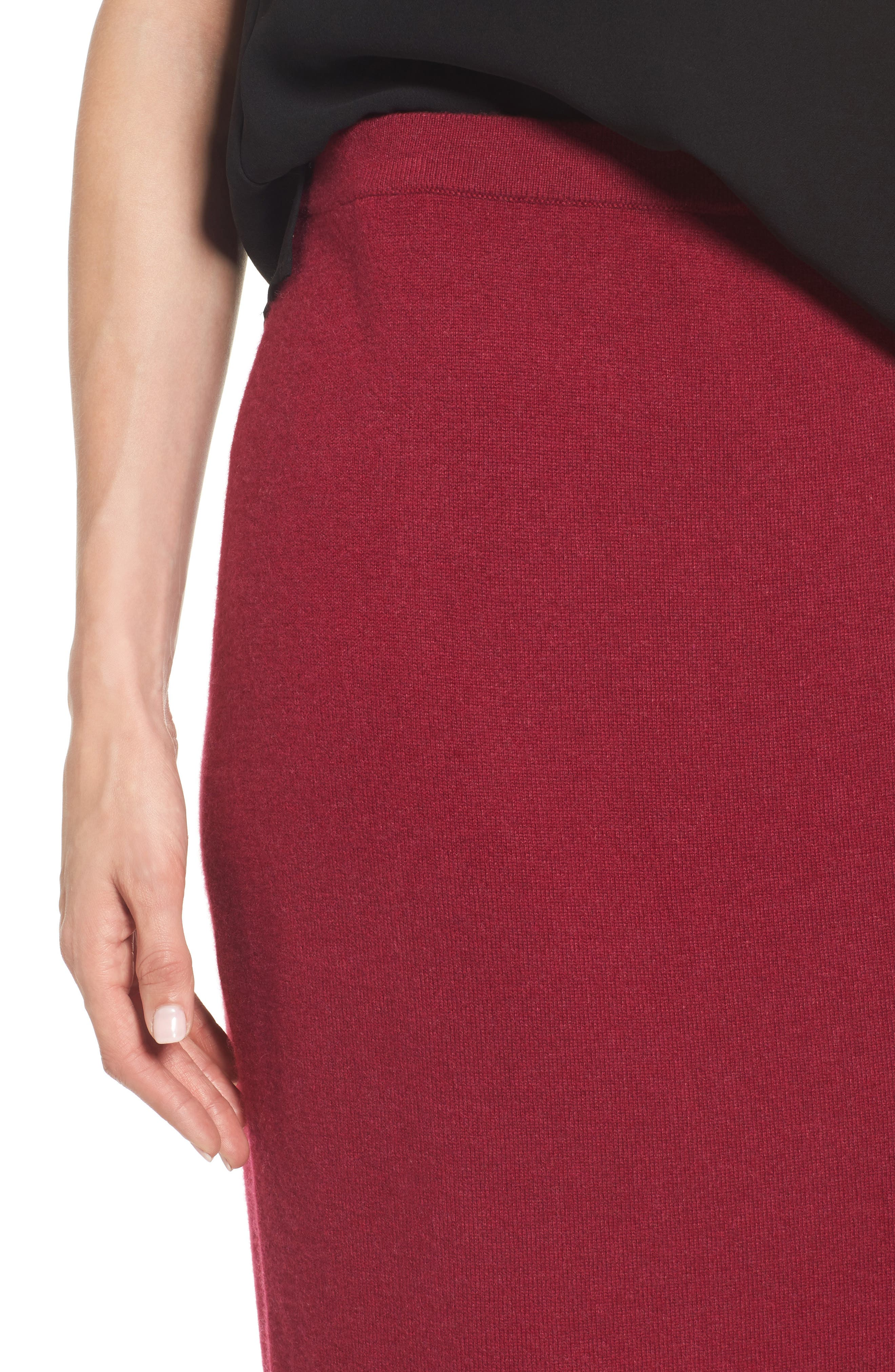 Cashmere Knit Pencil Skirt,                             Alternate thumbnail 4, color,                             Hibiscus