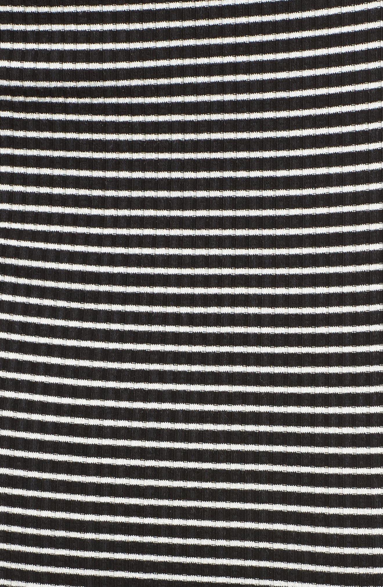 Cutout Stripe T-Shirt Dress,                             Alternate thumbnail 5, color,                             White/ Black