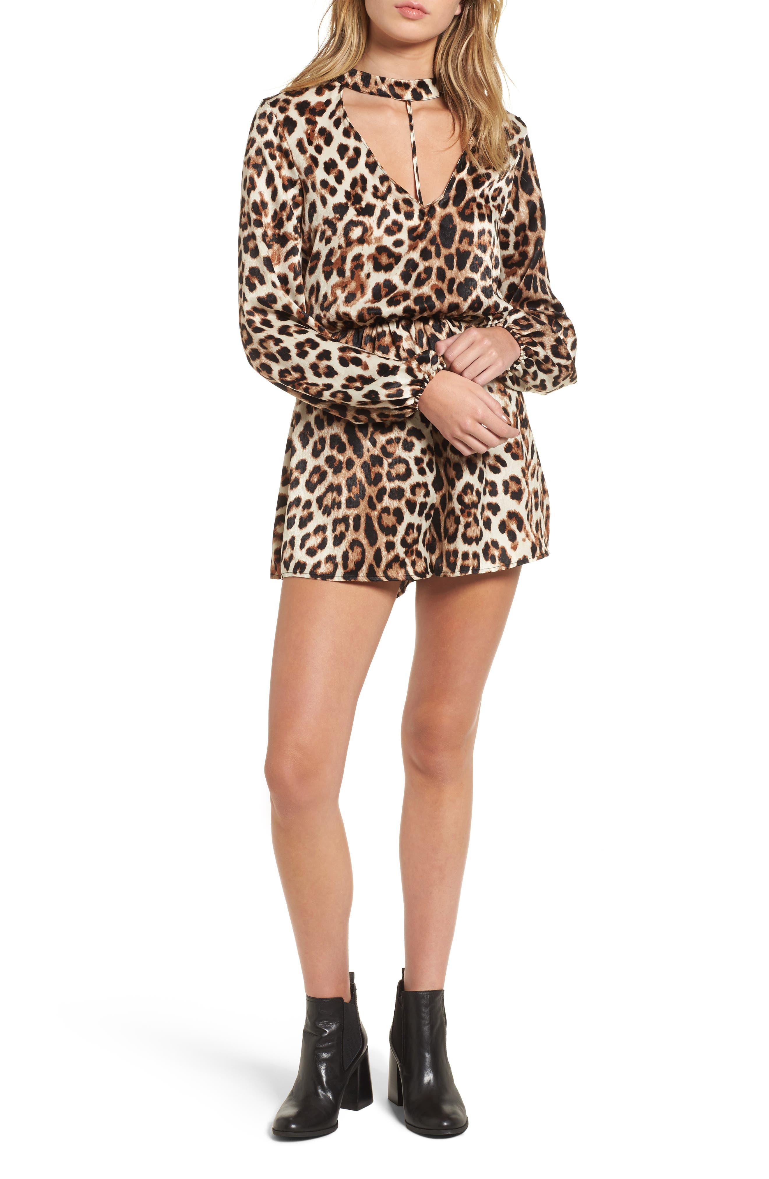 Main Image - Leopard Print Choker Neck Romper