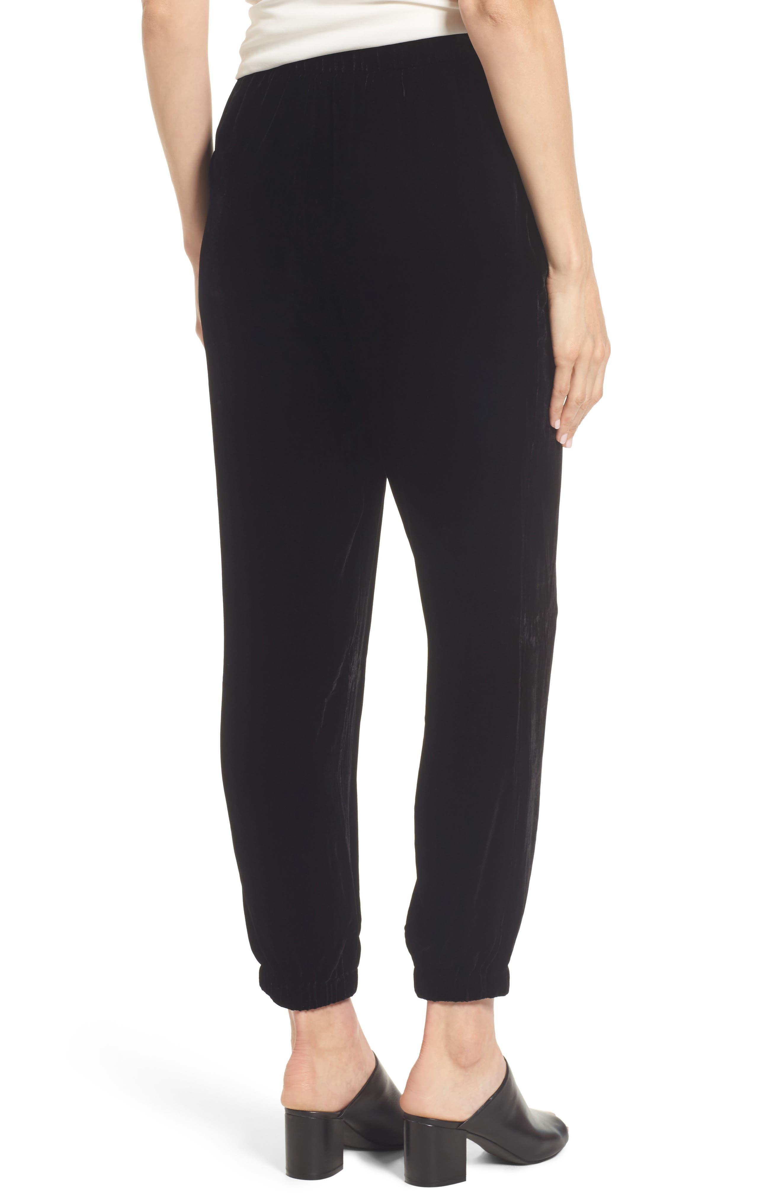 Velvet Jogger Pants,                             Alternate thumbnail 2, color,                             Black