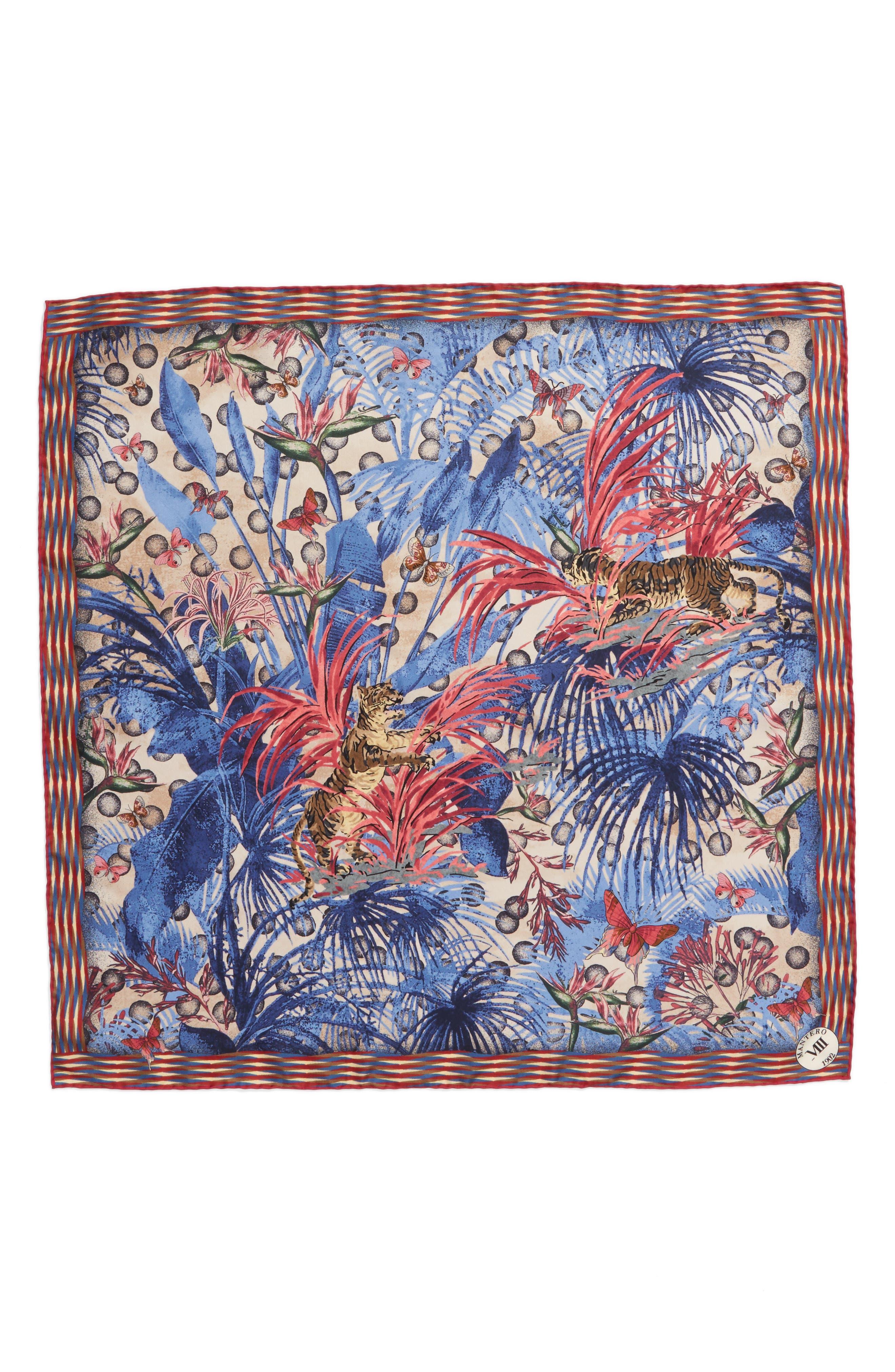 Papiro Square Silk Scarf,                         Main,                         color, Jeans