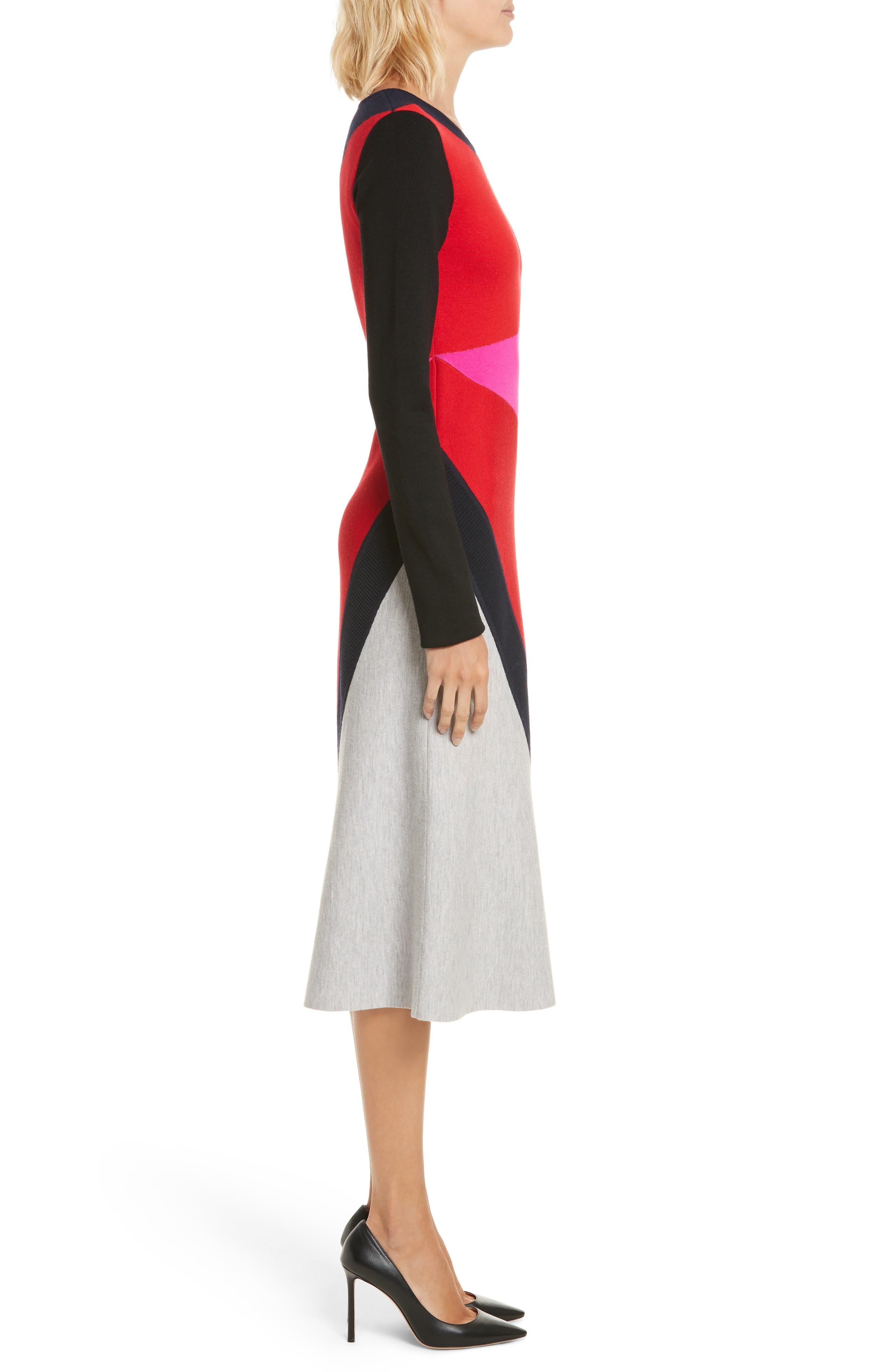 Colorblock Intarsia Dress,                             Alternate thumbnail 3, color,                             Lipstick Multi