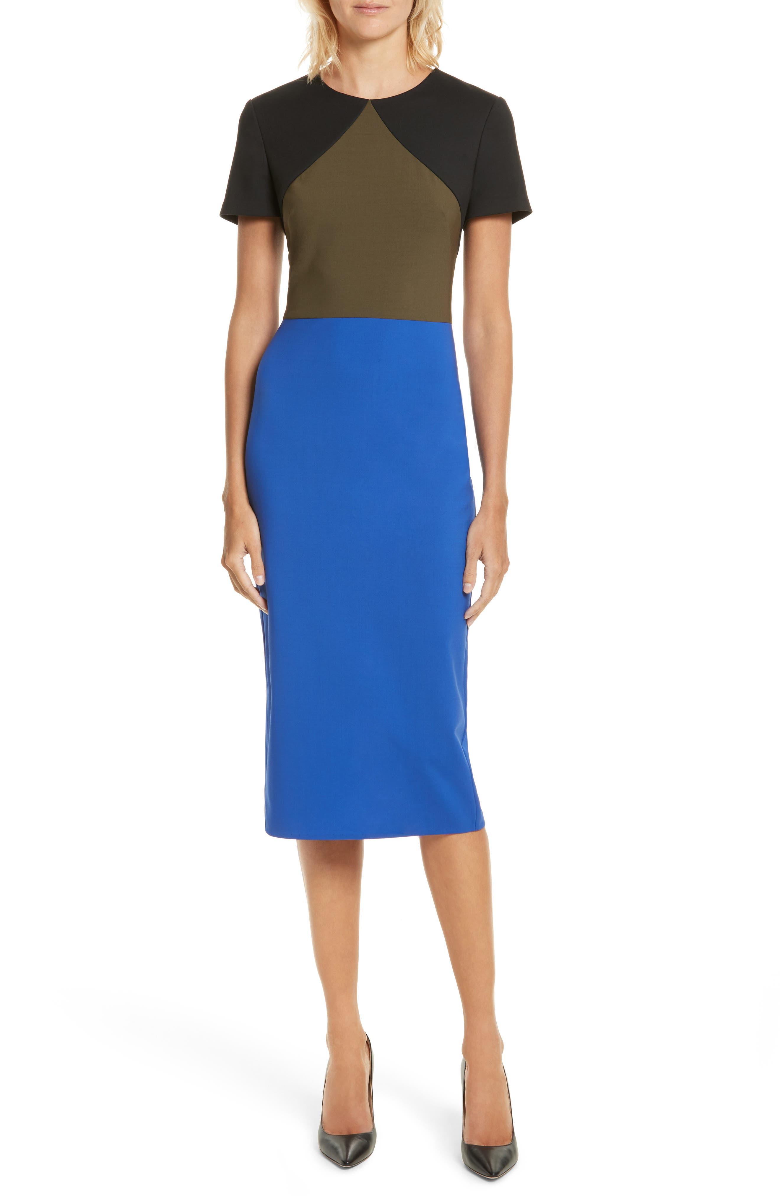 Colorblock Tailored Midi Dress,                         Main,                         color, Electric Blue/ Olive/ Black