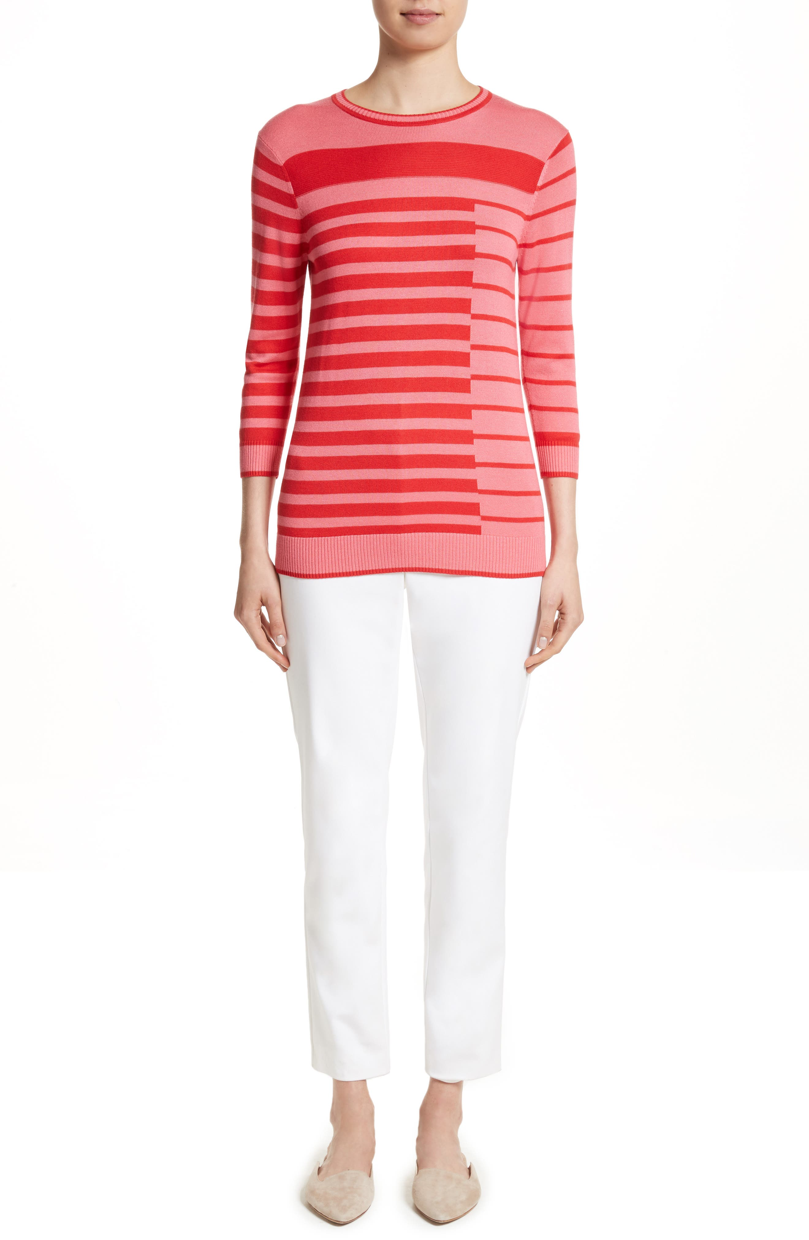 Alternate Image 5  - St. John Collection Intarsia Stripe Sweater