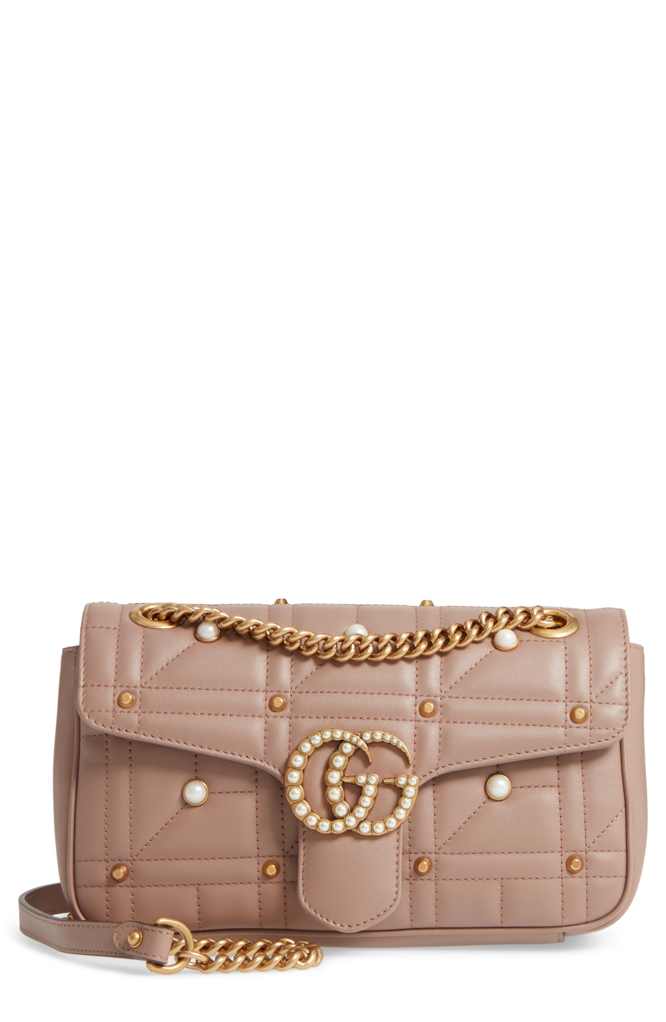 GG Marmont Matelassé Imitation Pearl Leather Shoulder Bag,                             Main thumbnail 1, color,                             White/ Pink