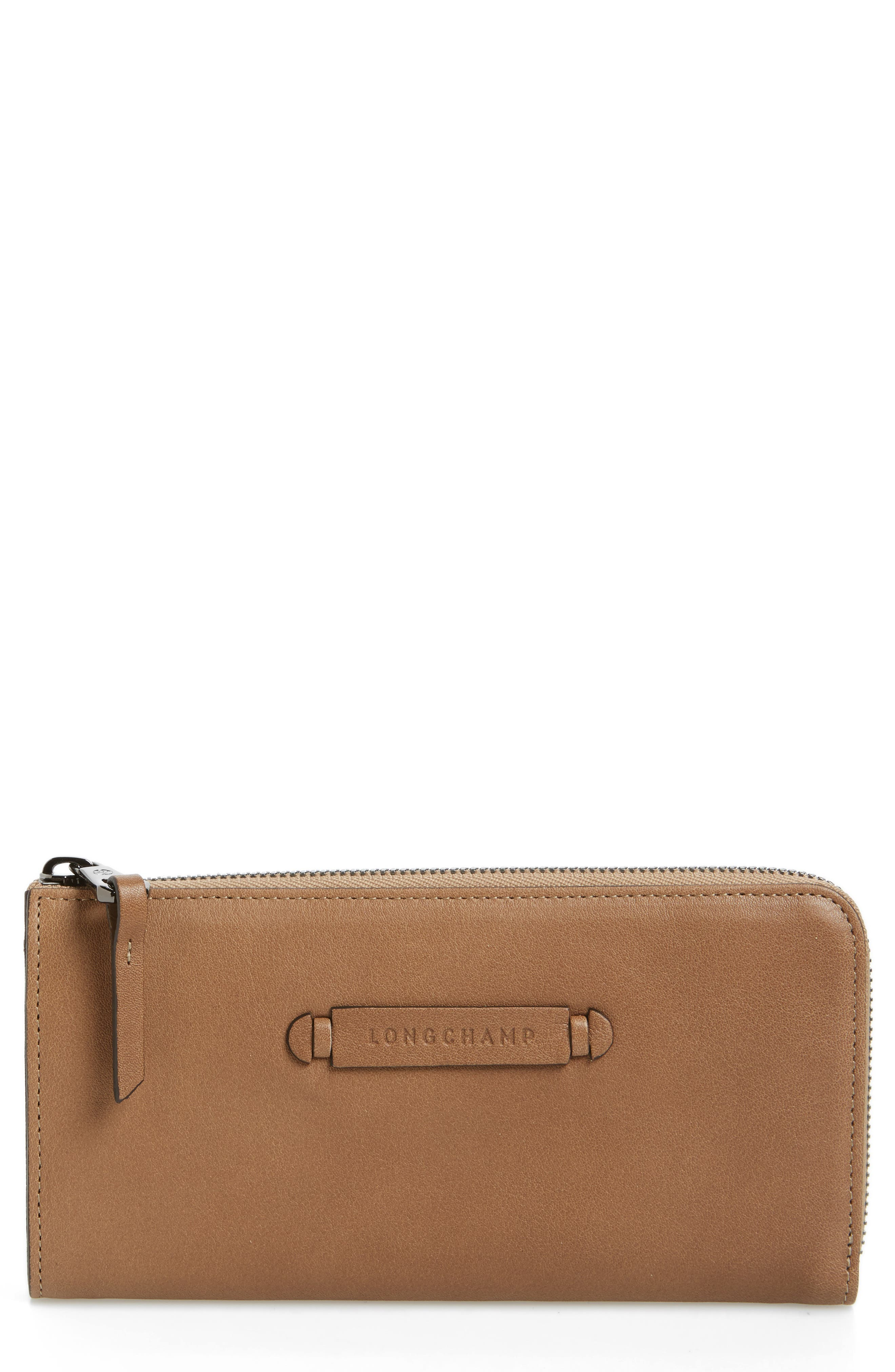 3D Leather Wallet,                         Main,                         color, Taupe