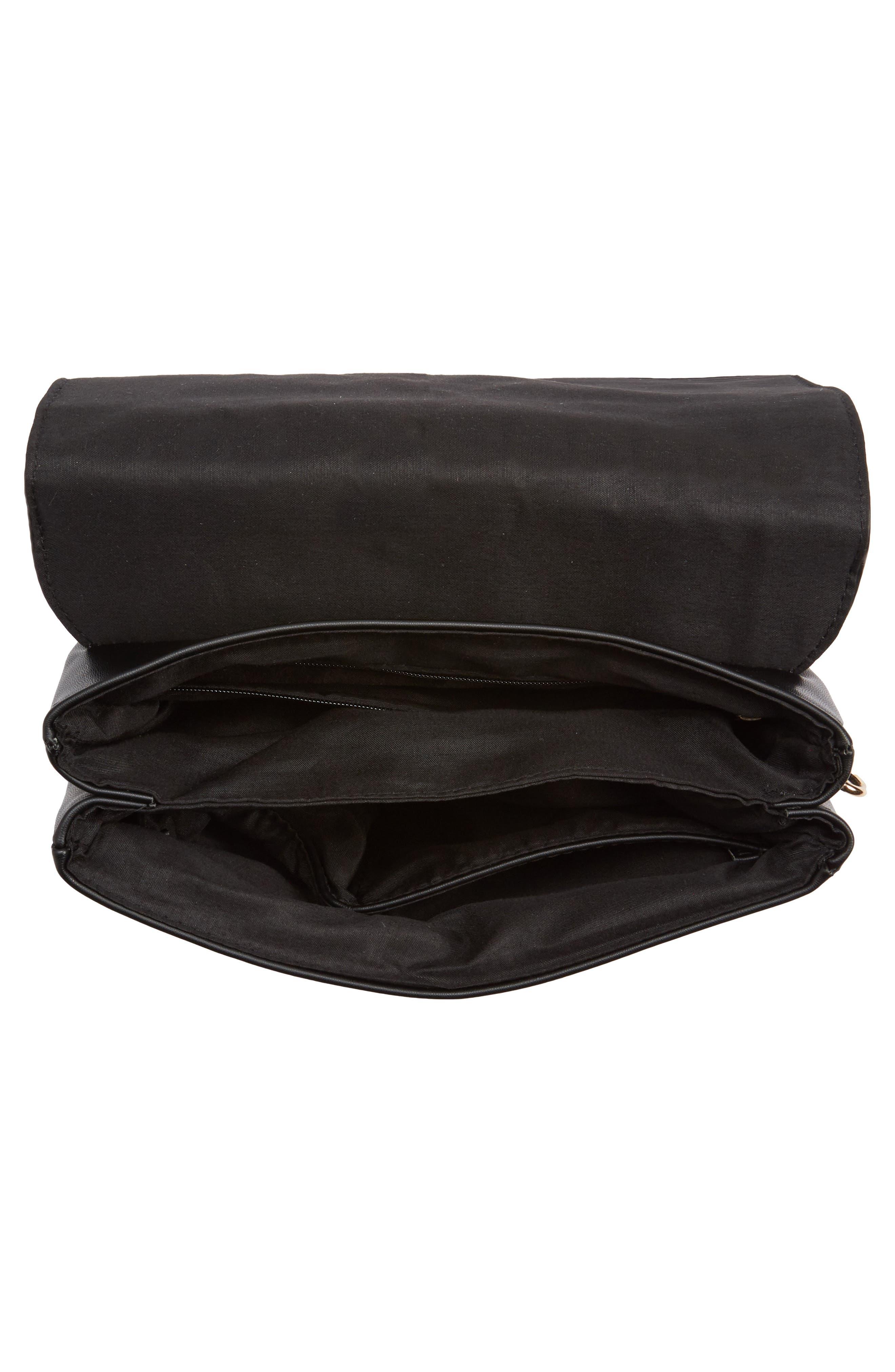 Studded Faux Leather Crossbody Bag,                             Alternate thumbnail 4, color,                             Black