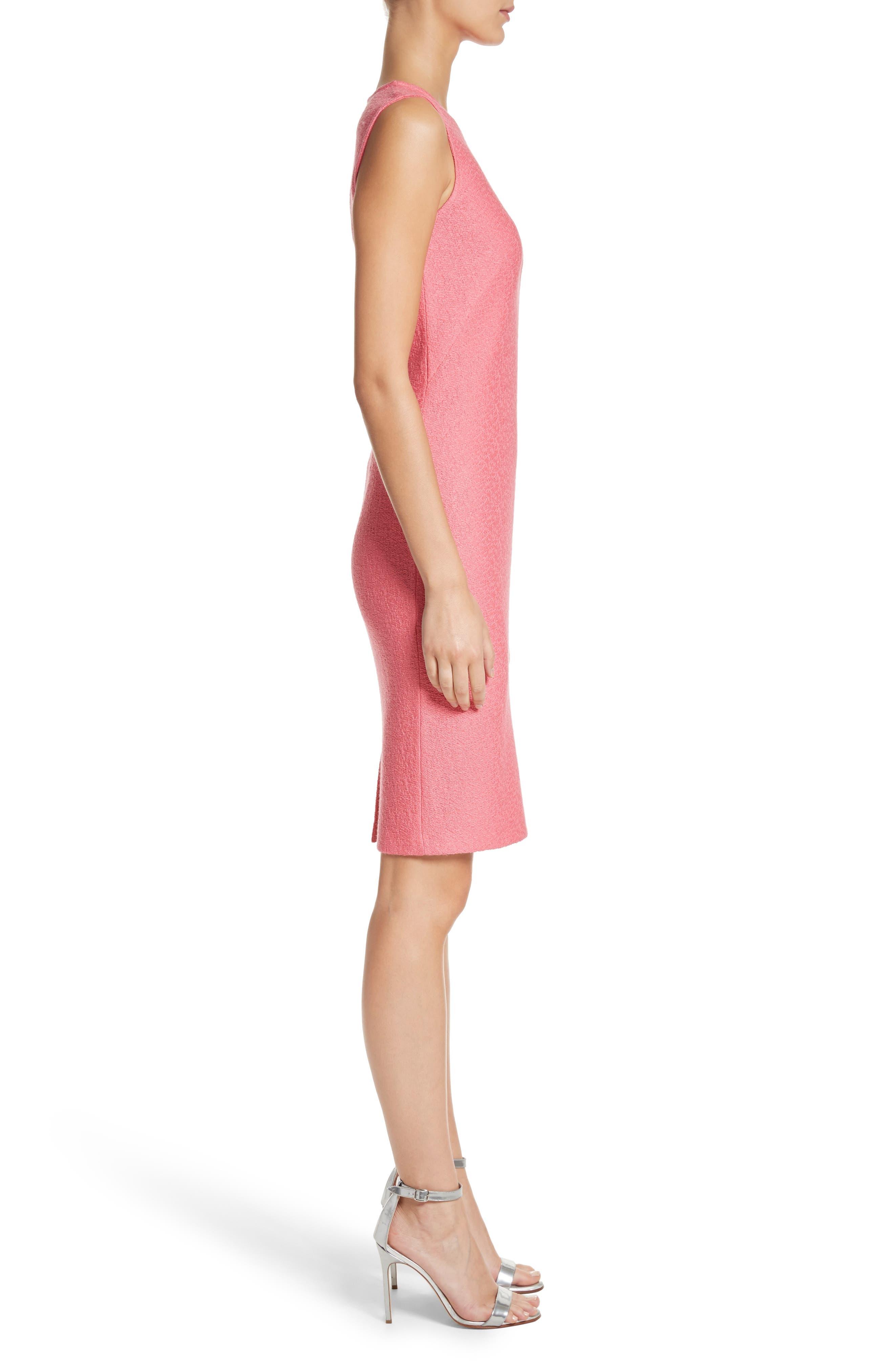 Hannah Knit Sheath Dress,                             Alternate thumbnail 3, color,                             Bright Coral