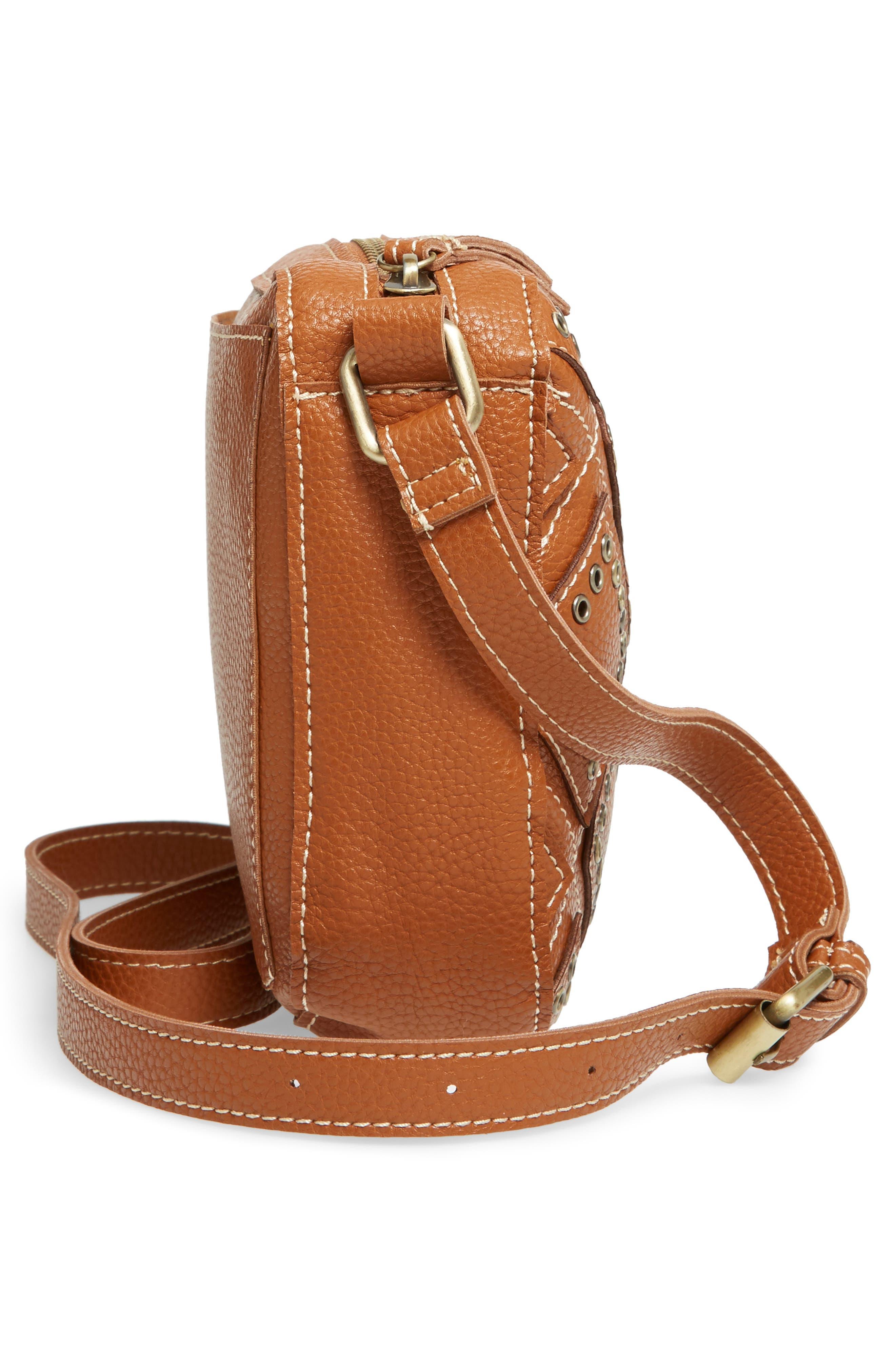 Skylar Faux Leather Crossbody Bag,                             Alternate thumbnail 3, color,                             Saddle