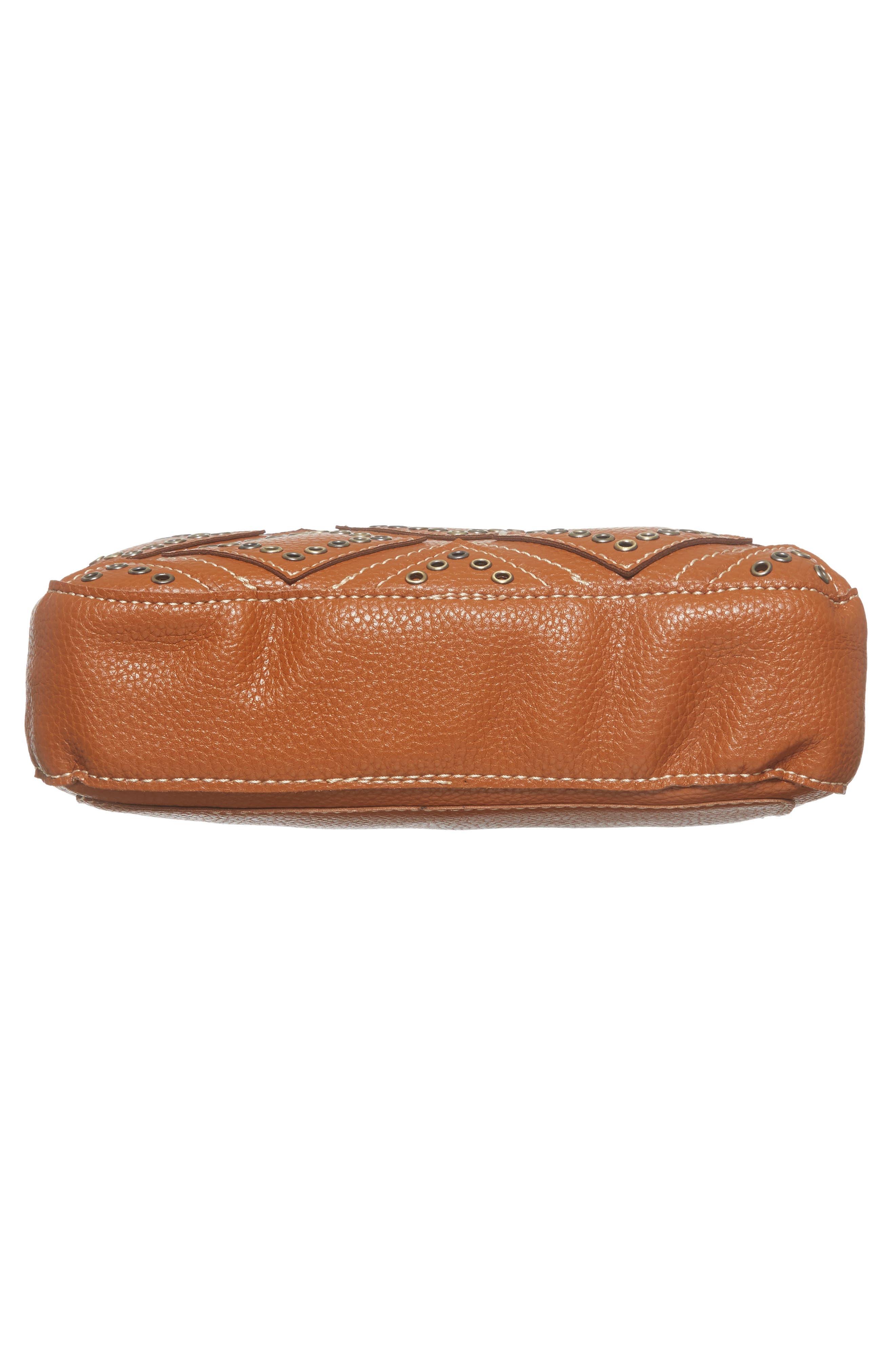 Skylar Faux Leather Crossbody Bag,                             Alternate thumbnail 5, color,                             Saddle