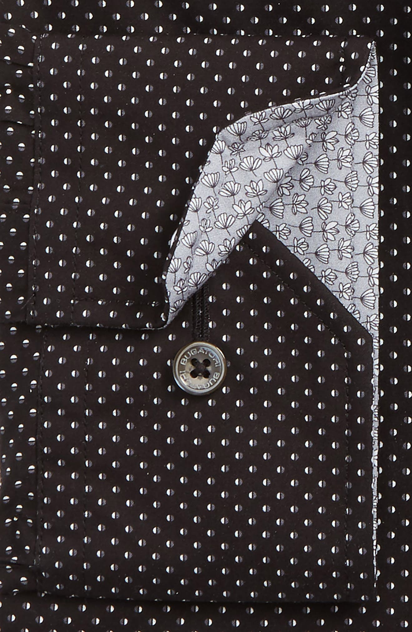 Trim Fit Dot Dress Shirt,                             Alternate thumbnail 2, color,                             Black