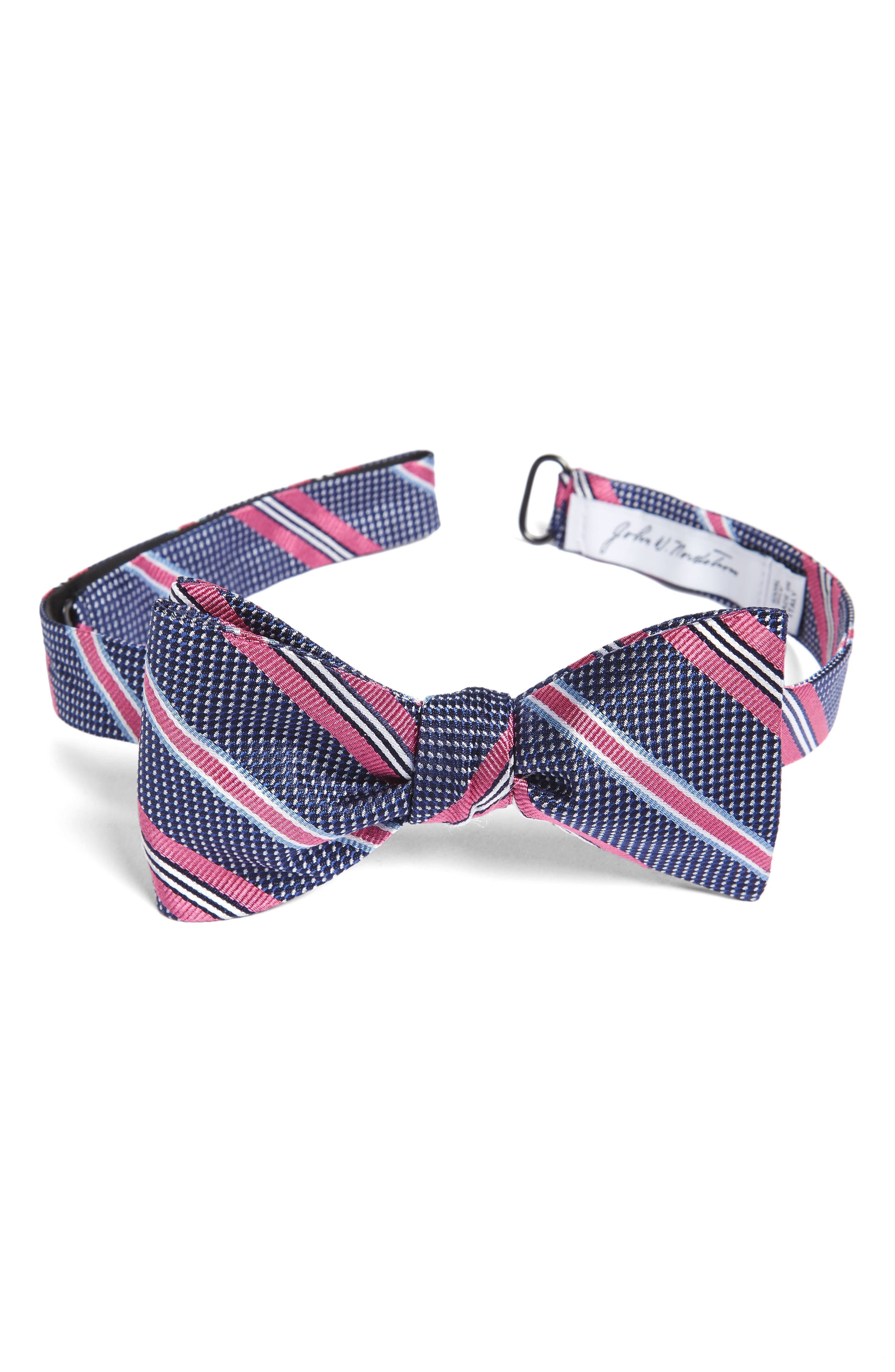 Dotted Stripe Silk Bow Tie,                         Main,                         color, Pink