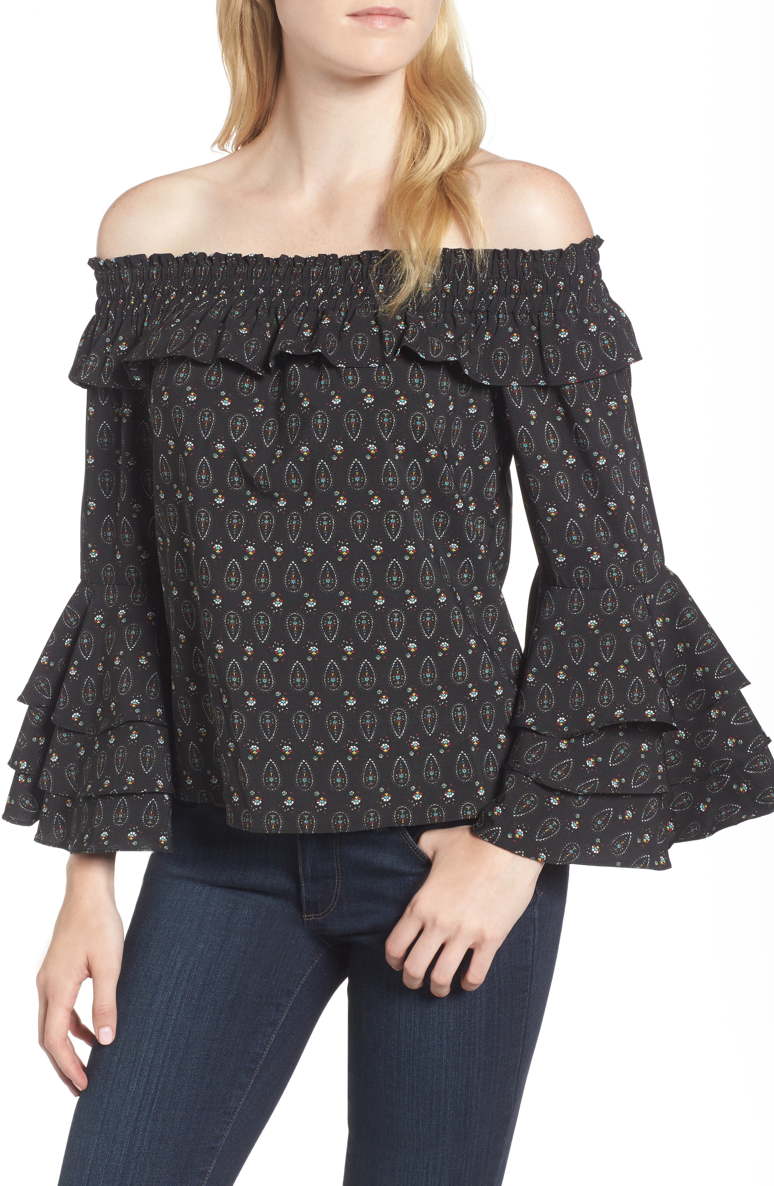 Off the Shoulder Top,                         Main,                         color, Black/ Multi