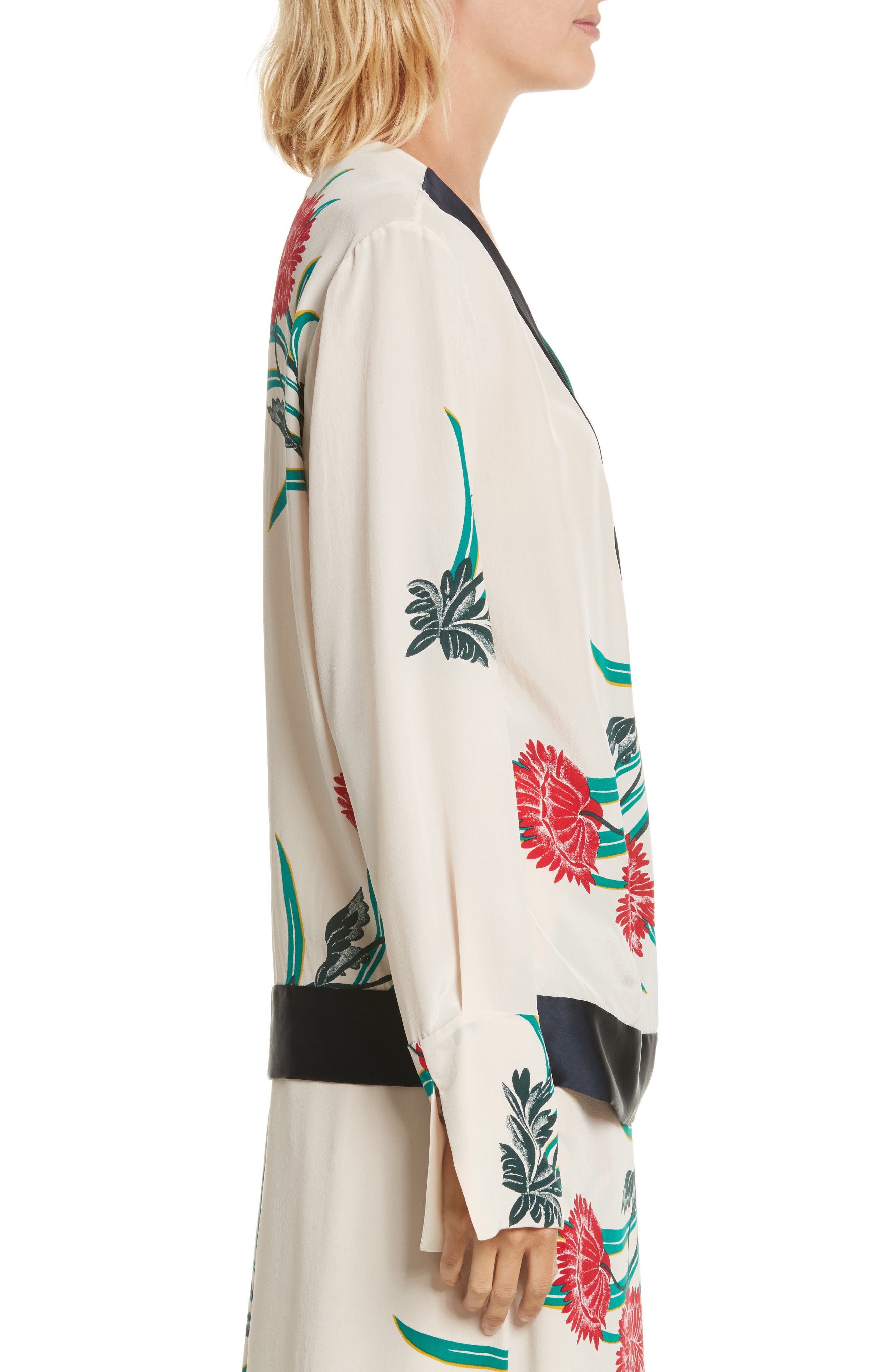Diane von Furstenberg Bell Sleeve Crossover Silk Blouse,                             Alternate thumbnail 3, color,                             Farren Pearl/ Alex Navy/ Jade