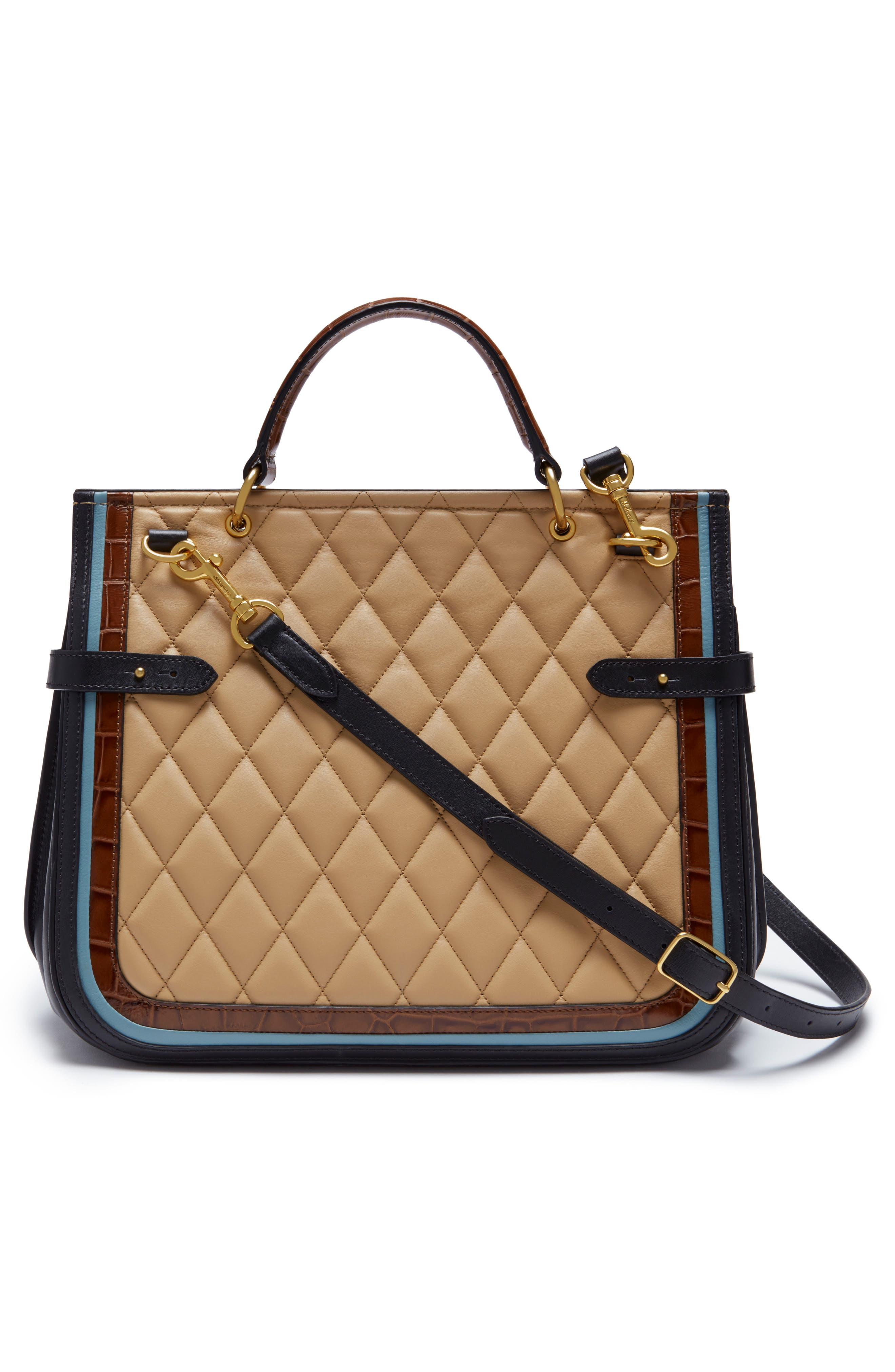 Amberley Quilted Calfskin Leather Satchel,                             Alternate thumbnail 2, color,                             Black/ Tan/ Multi
