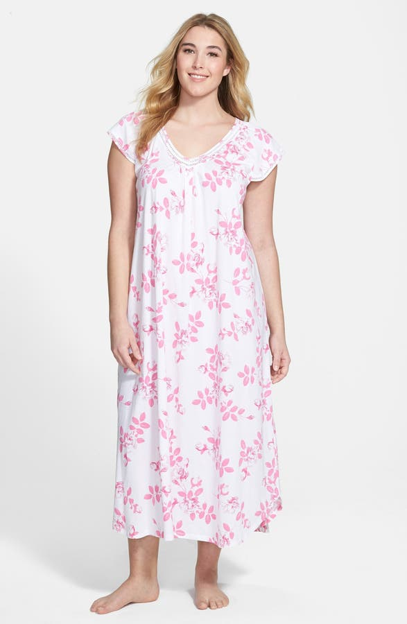 Carole Hochman Designs \'Graphite Flowers\' Long Nightgown (Plus ...