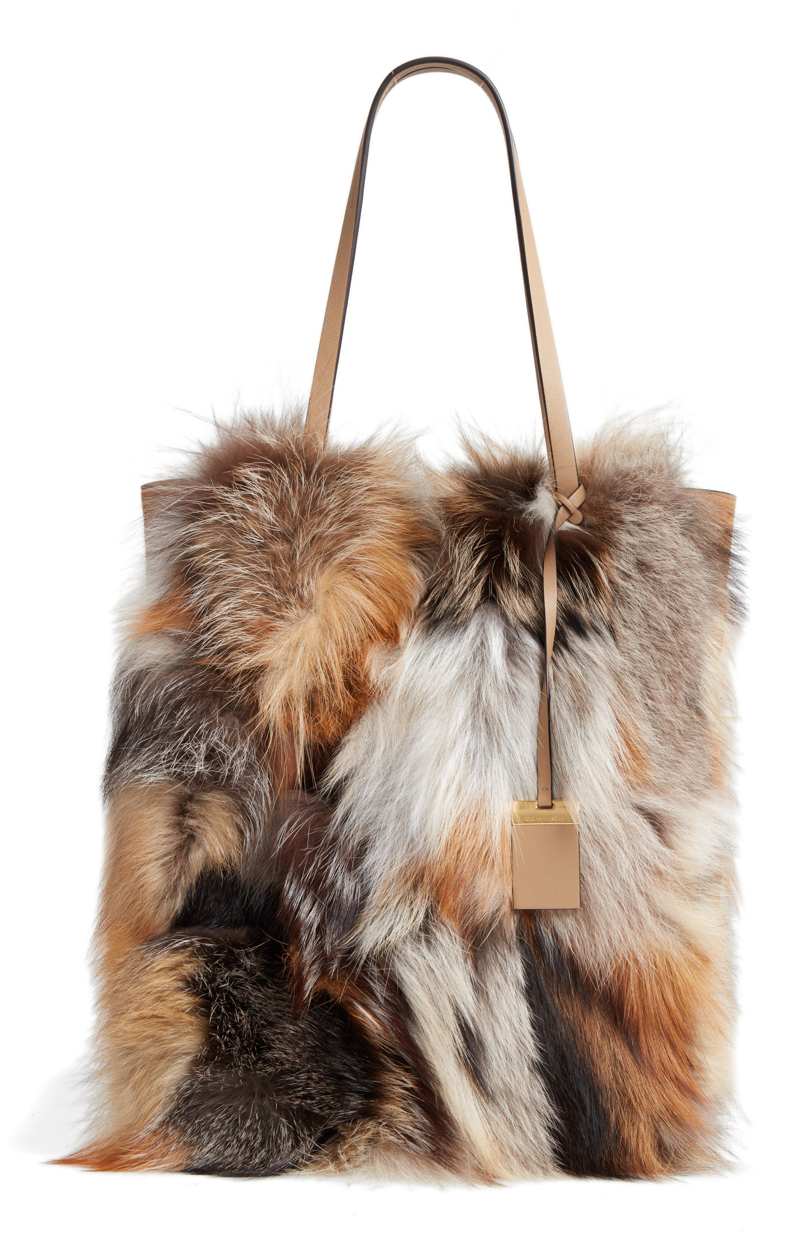 MICHAEL KORS Large Elenor Genuine Fox Fur Tote