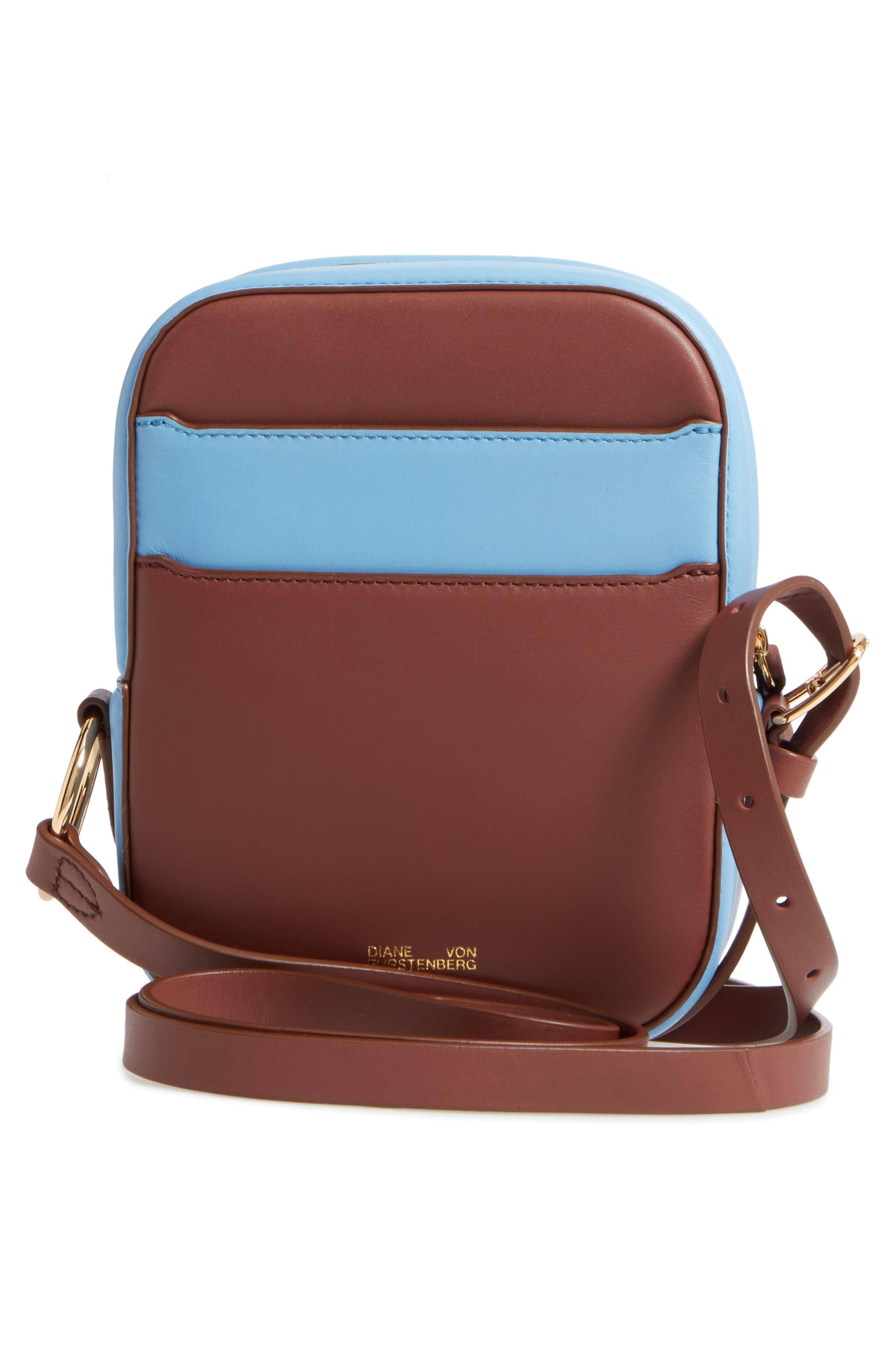 Leather & Genuine Calf Hair Camera Bag,                             Alternate thumbnail 3, color,                             Leopard/ Powder Blue