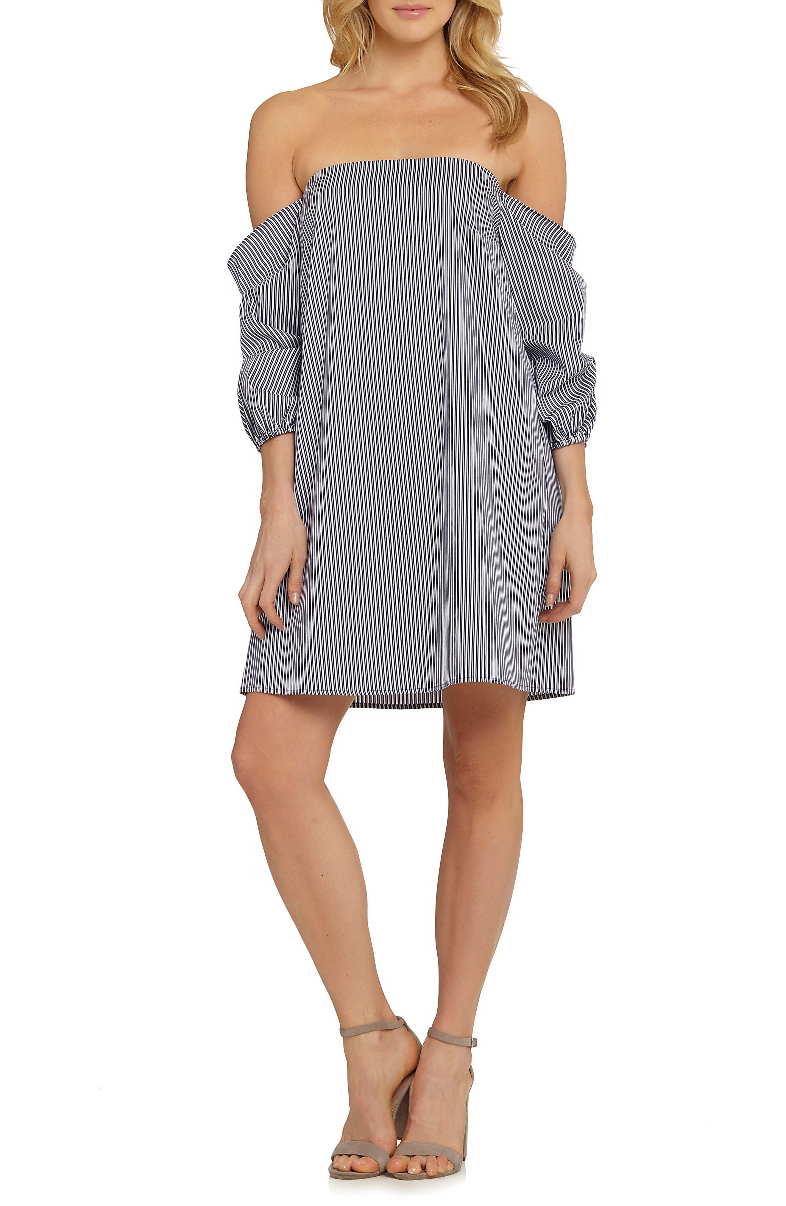 Brooklyn Stripe Off the Shoulder Dress,                             Main thumbnail 1, color,                             Copen Blue