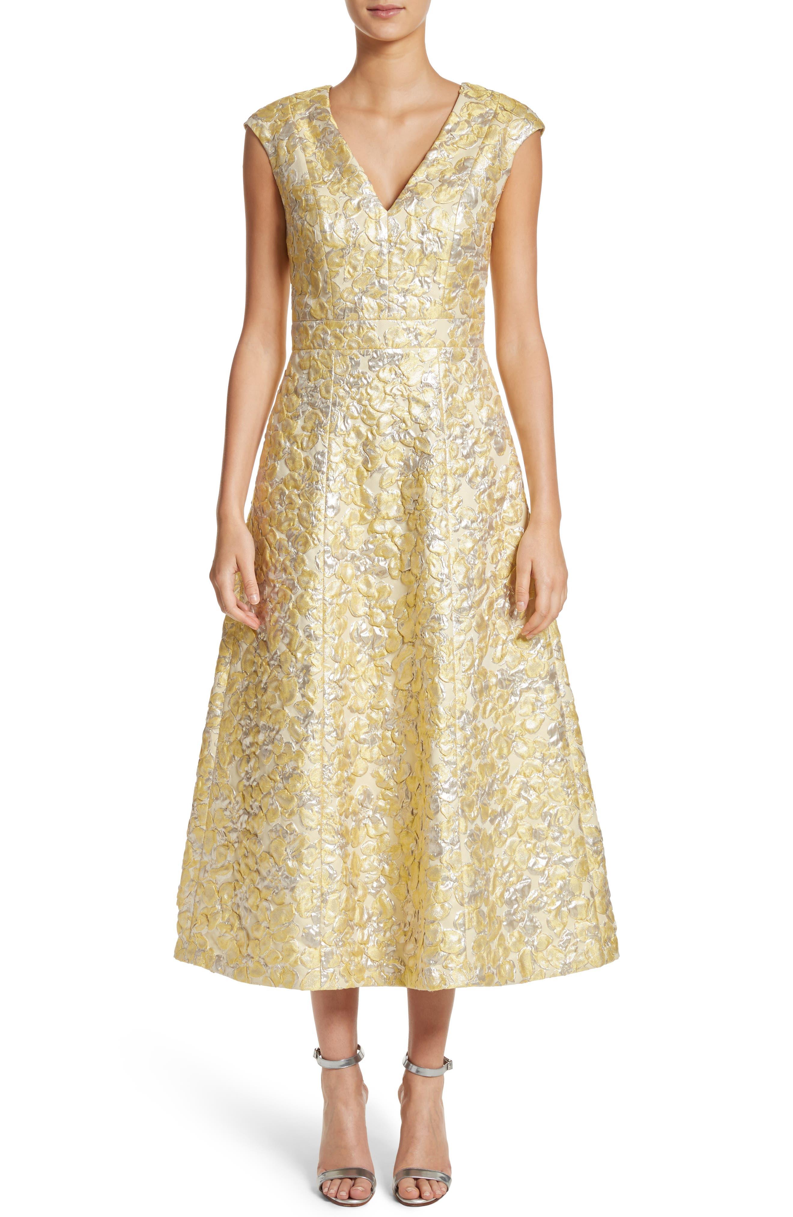 Metallic Floral Jacquard Dress,                             Main thumbnail 1, color,                             Lemon Multi