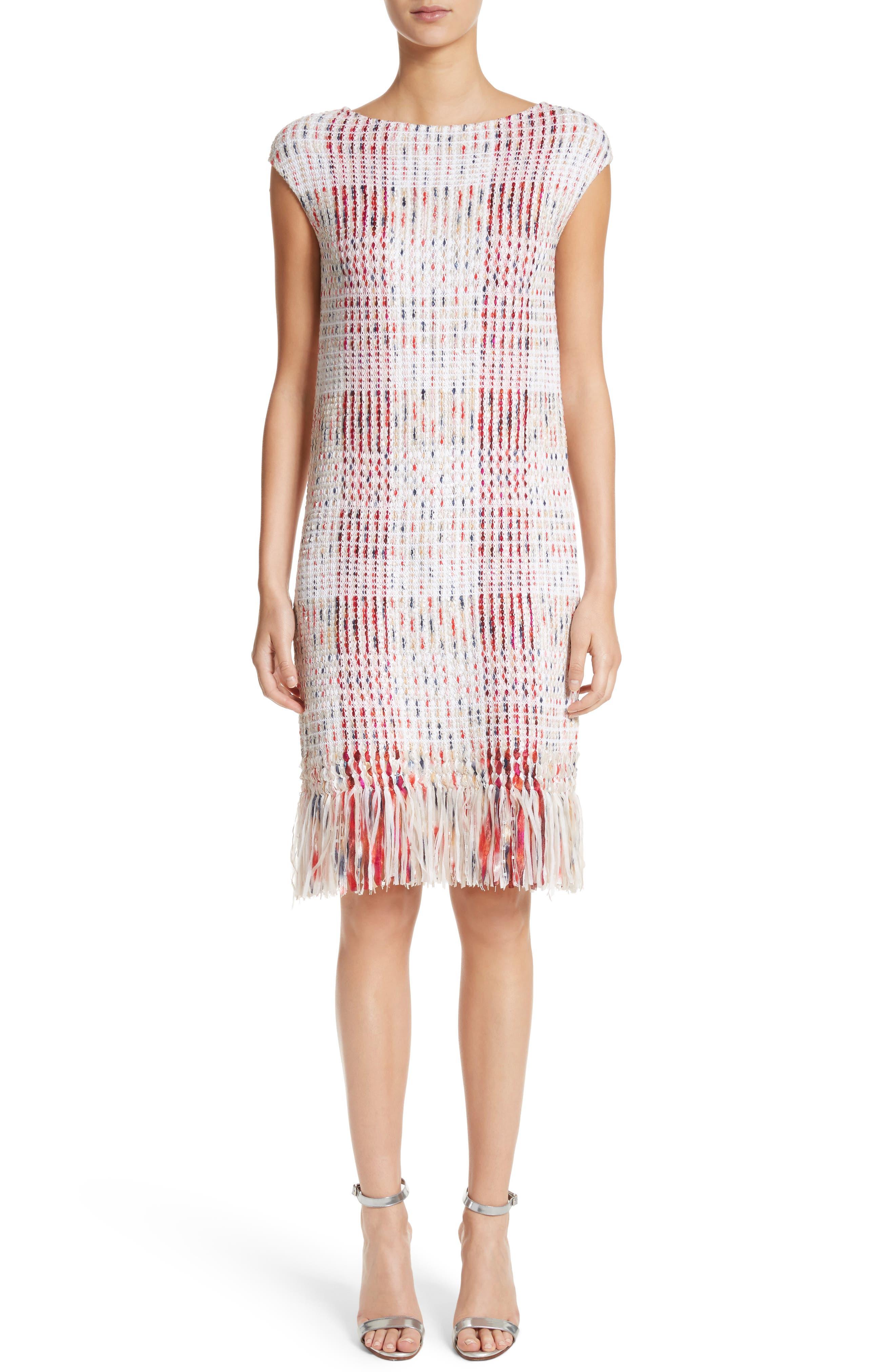 Ribbon Macro Plaid Knit Dress,                         Main,                         color, Blush Multi