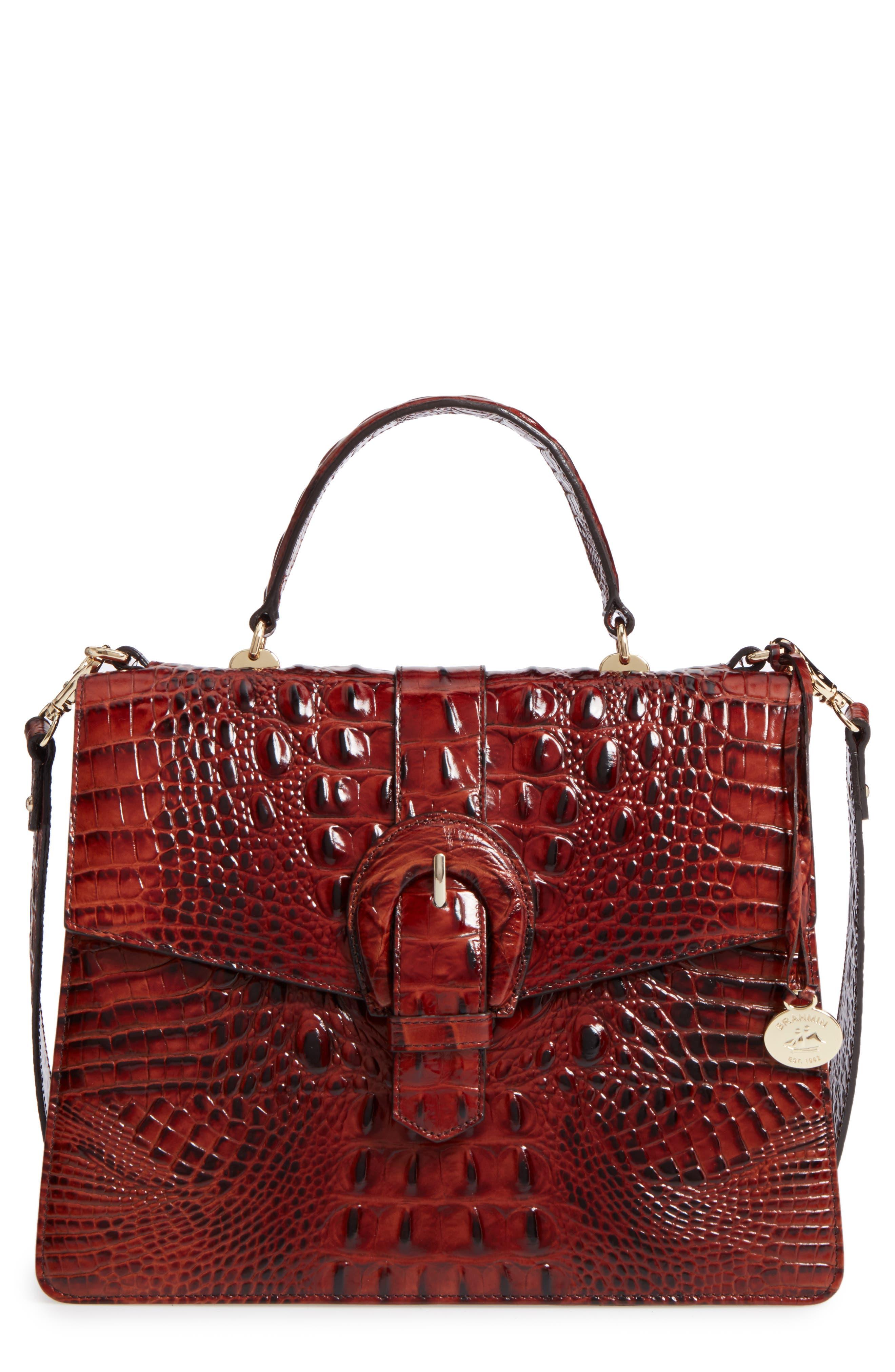 Brahmin Melbourne Gabriella Embossed Leather Satchel
