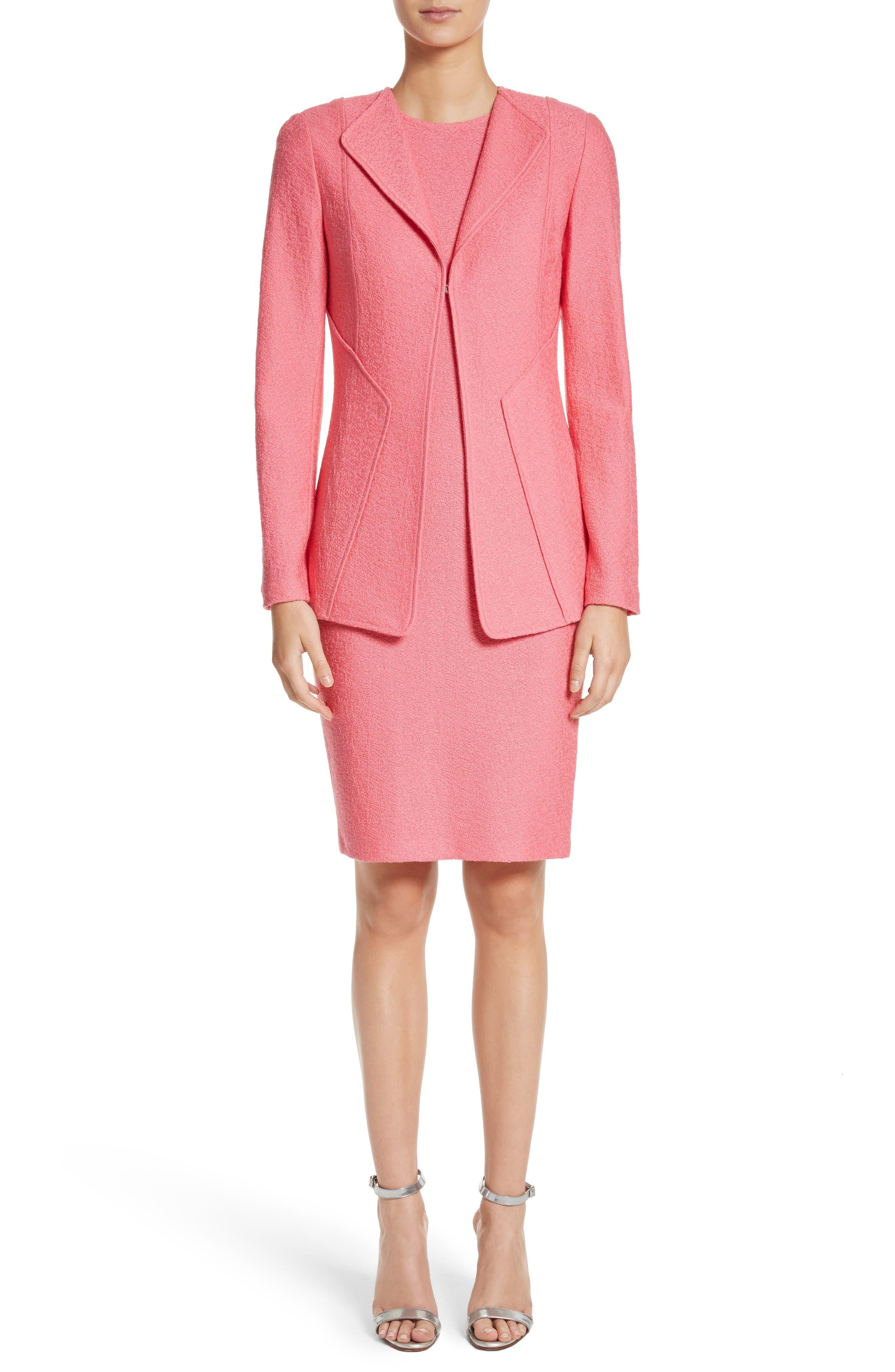 Hannah Knit Sheath Dress,                             Alternate thumbnail 6, color,                             Bright Coral