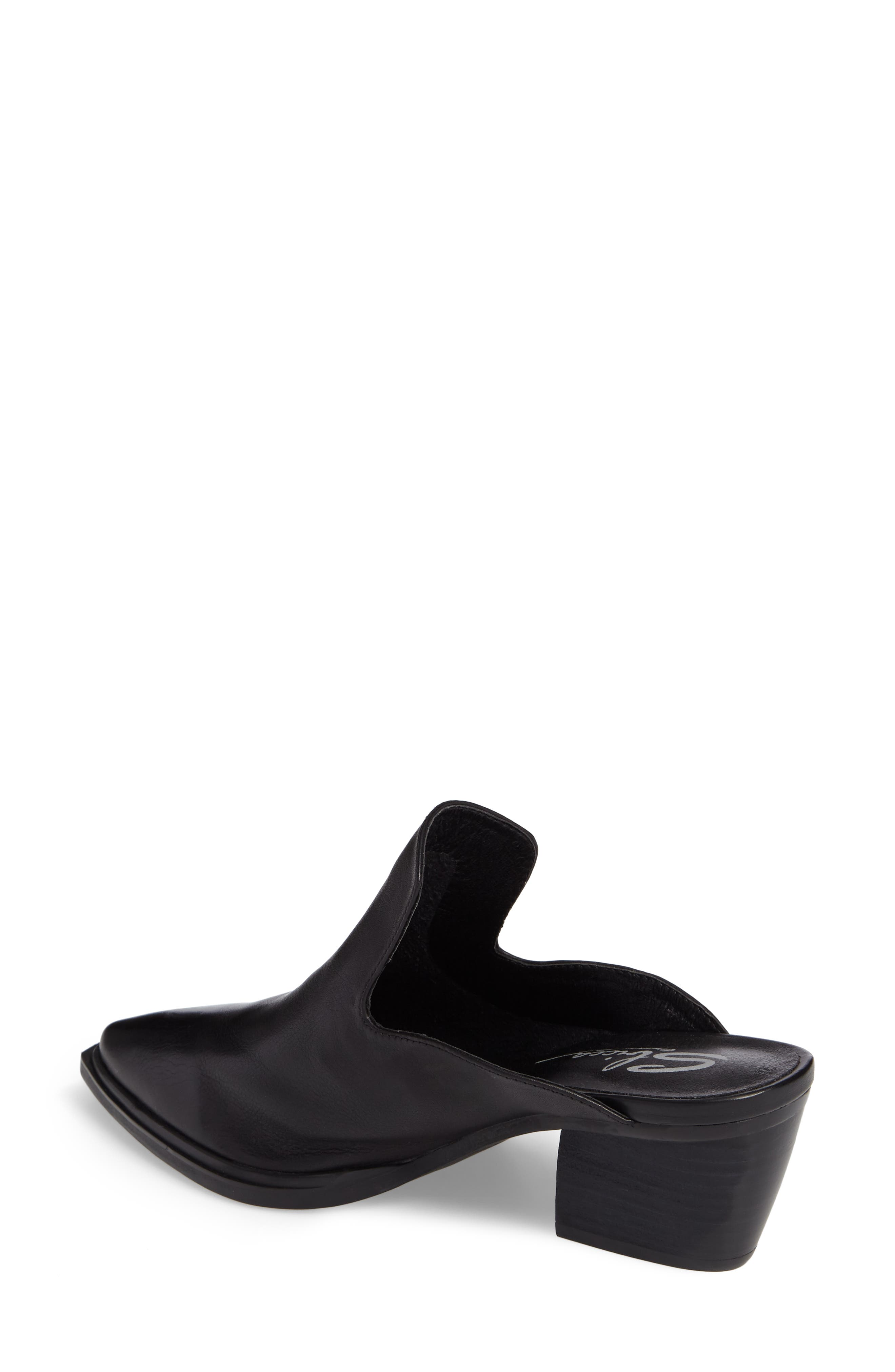 Mulah Pointy Toe Mule,                             Alternate thumbnail 2, color,                             Black Leather