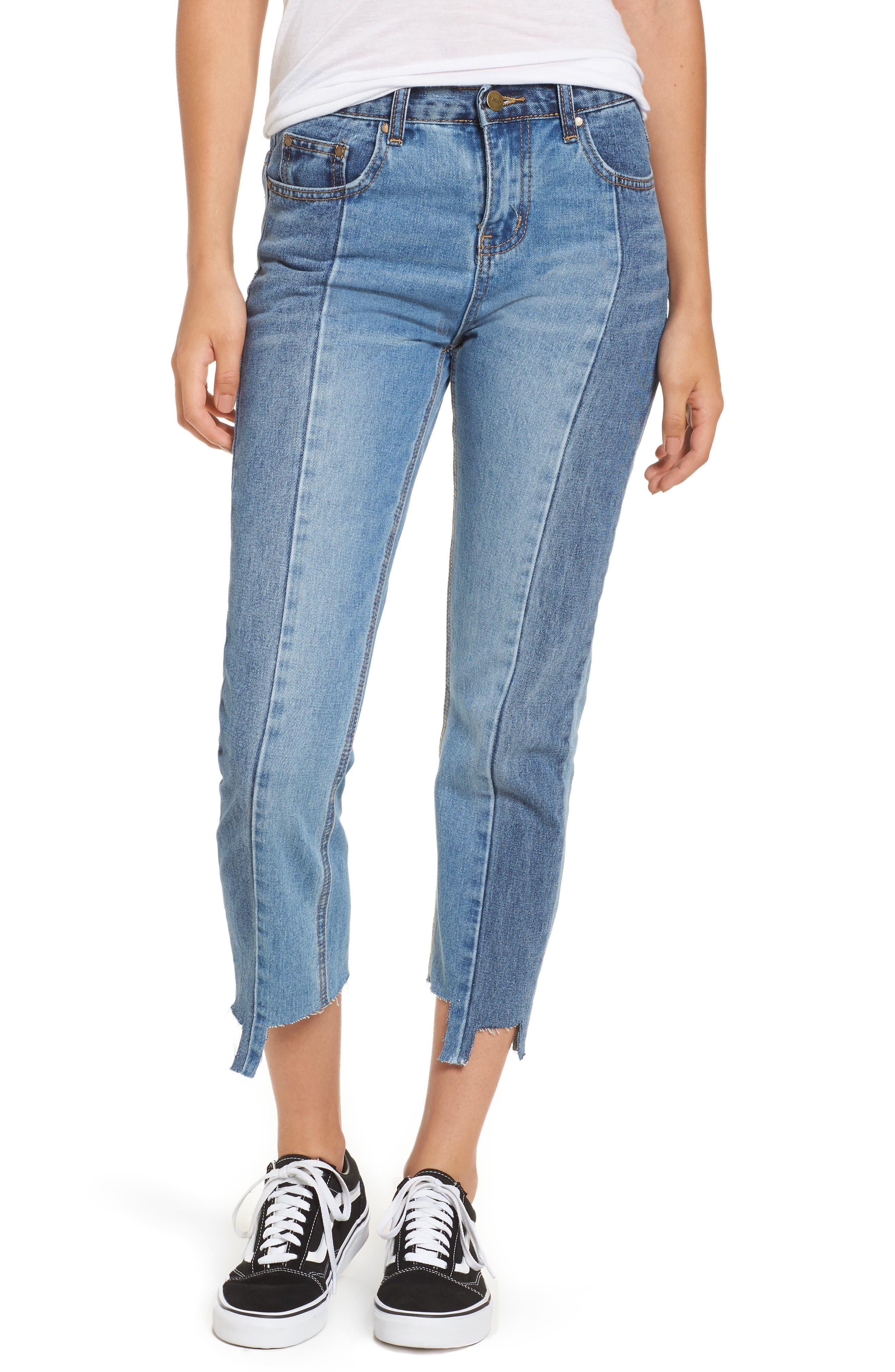 EVIDNT Patchwork Crop Skinny Jeans