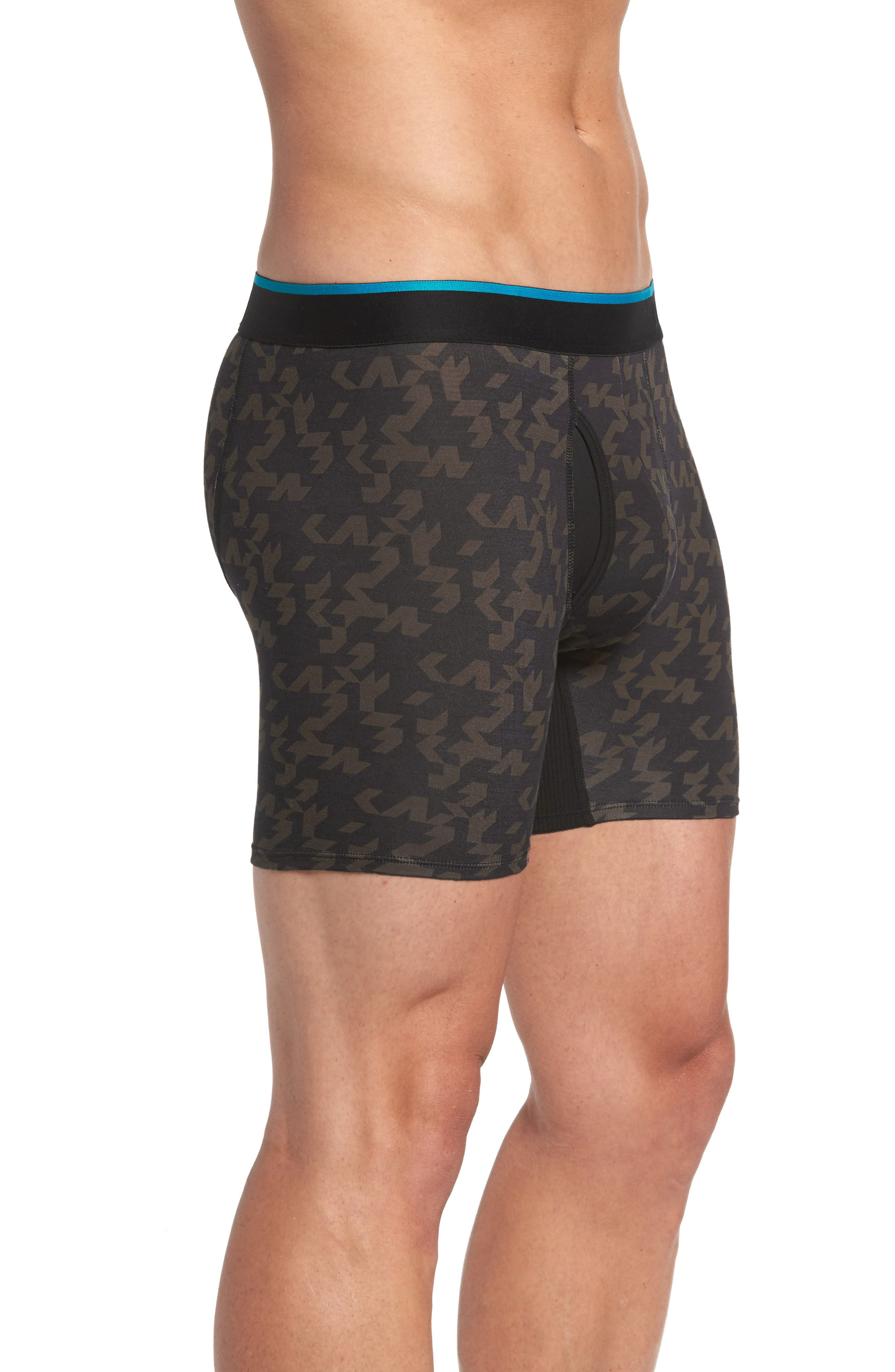 Bracket Geo Stretch Modal Boxer Brief,                             Alternate thumbnail 3, color,                             Black