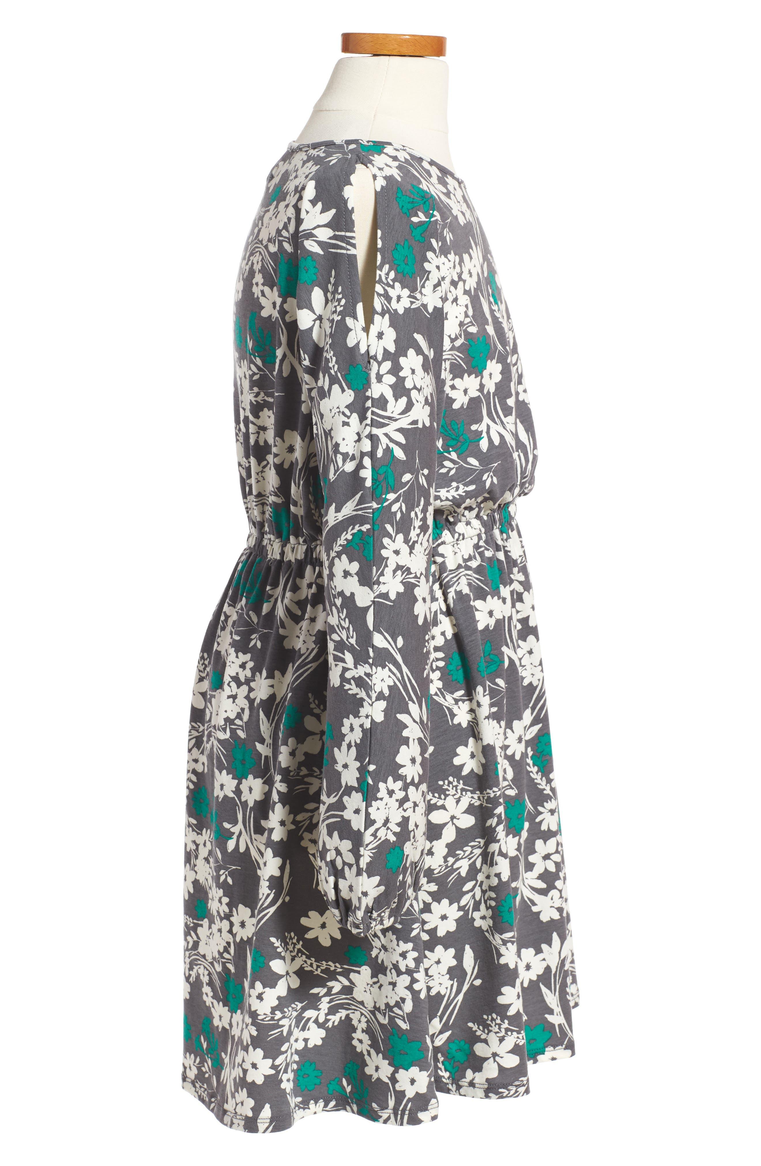Cold Shoulder Print Dress,                             Alternate thumbnail 3, color,                             Grey Castlerock Shadow Floral