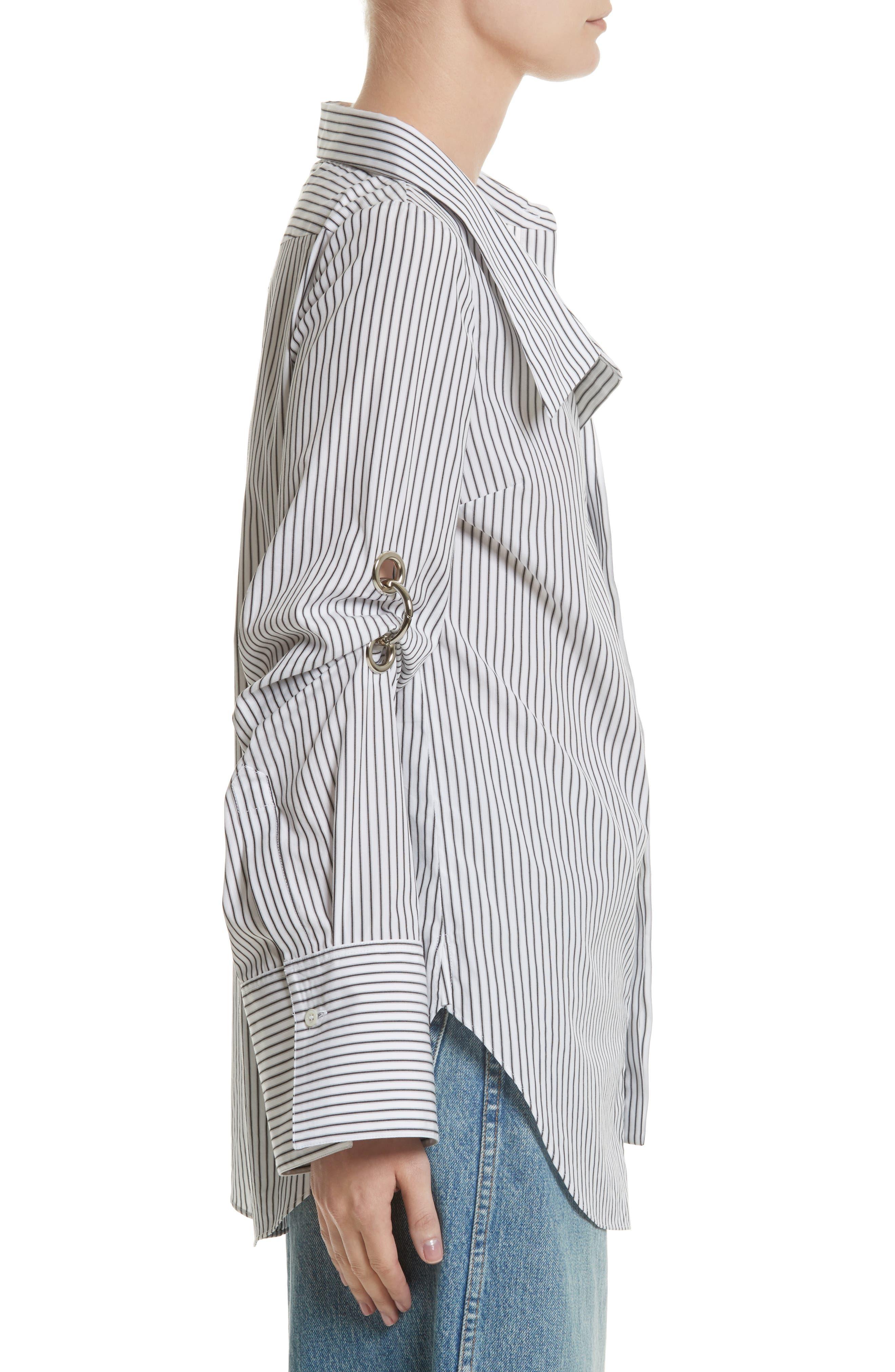 Grommet Scrunch Sleeve Shirt,                             Alternate thumbnail 3, color,                             Blue/ White