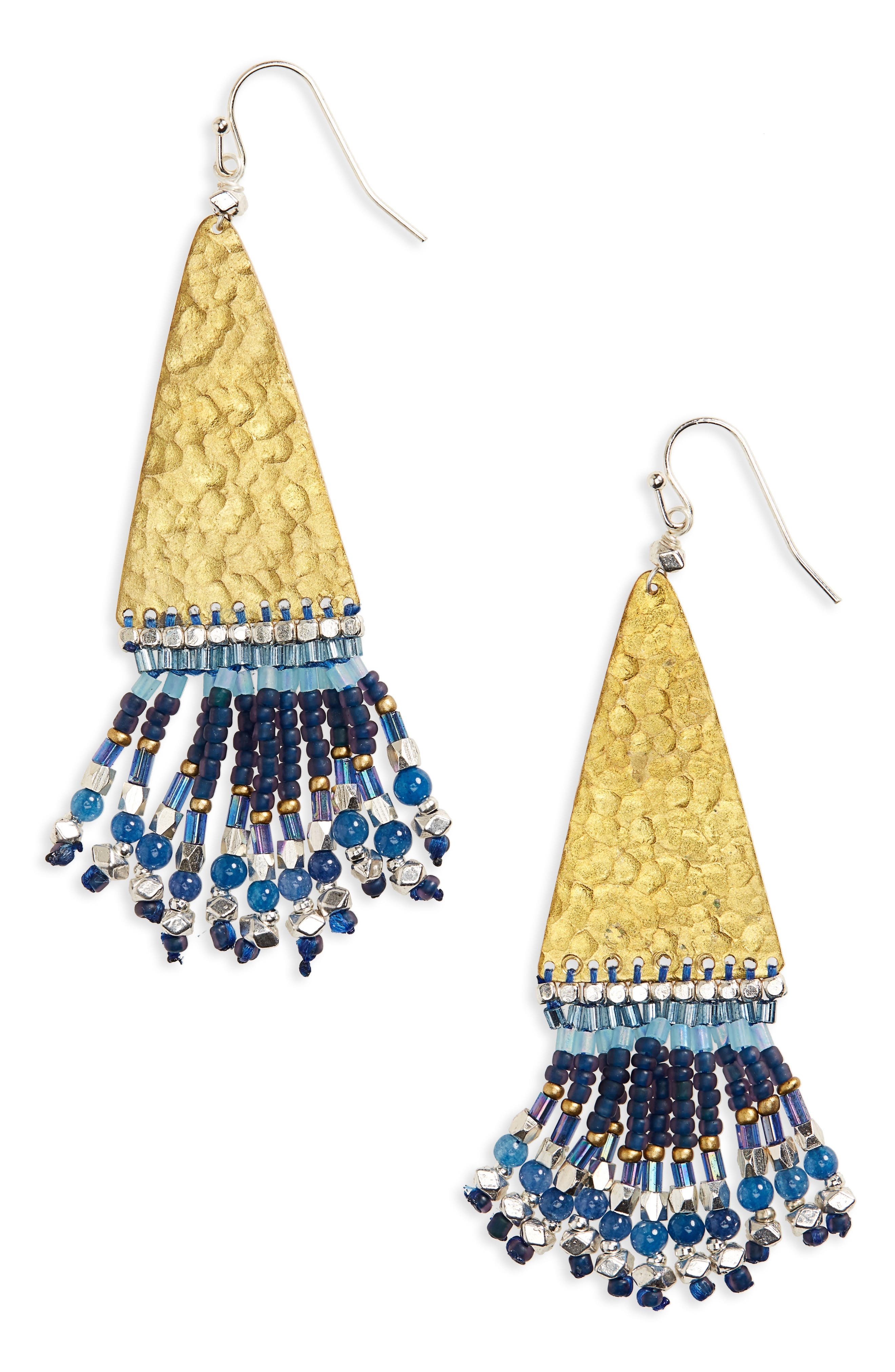 Hammered Bead Drop Earrings,                         Main,                         color, Blue