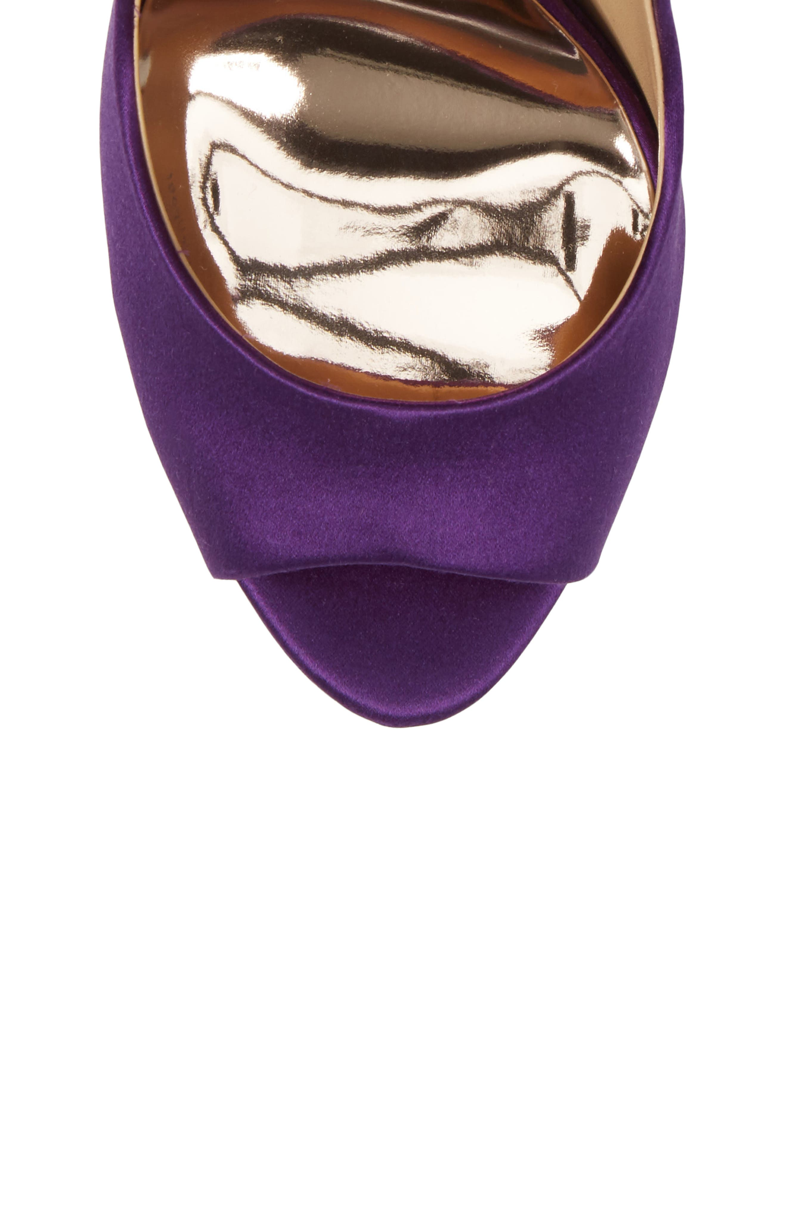 'Kiara' Crystal Back Open Toe Pump,                             Alternate thumbnail 5, color,                             Purple Satin