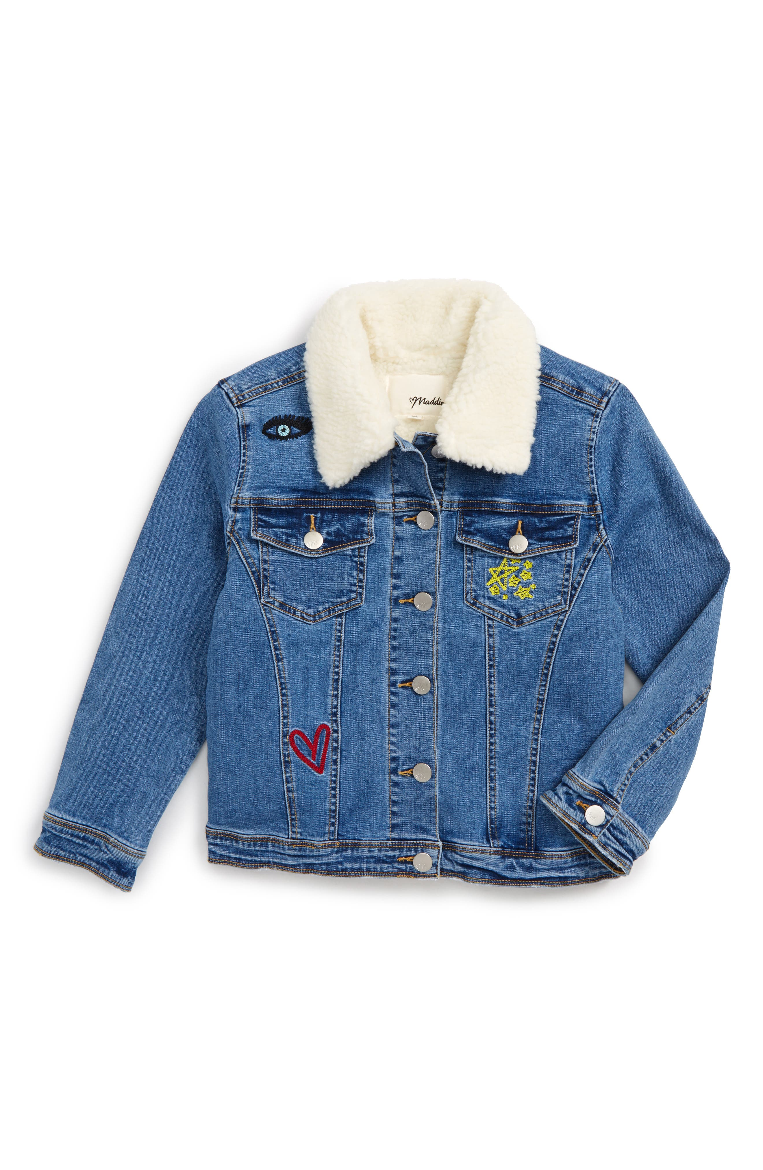 Maddie Embroidered Denim Trucker Jacket (Big Girls)