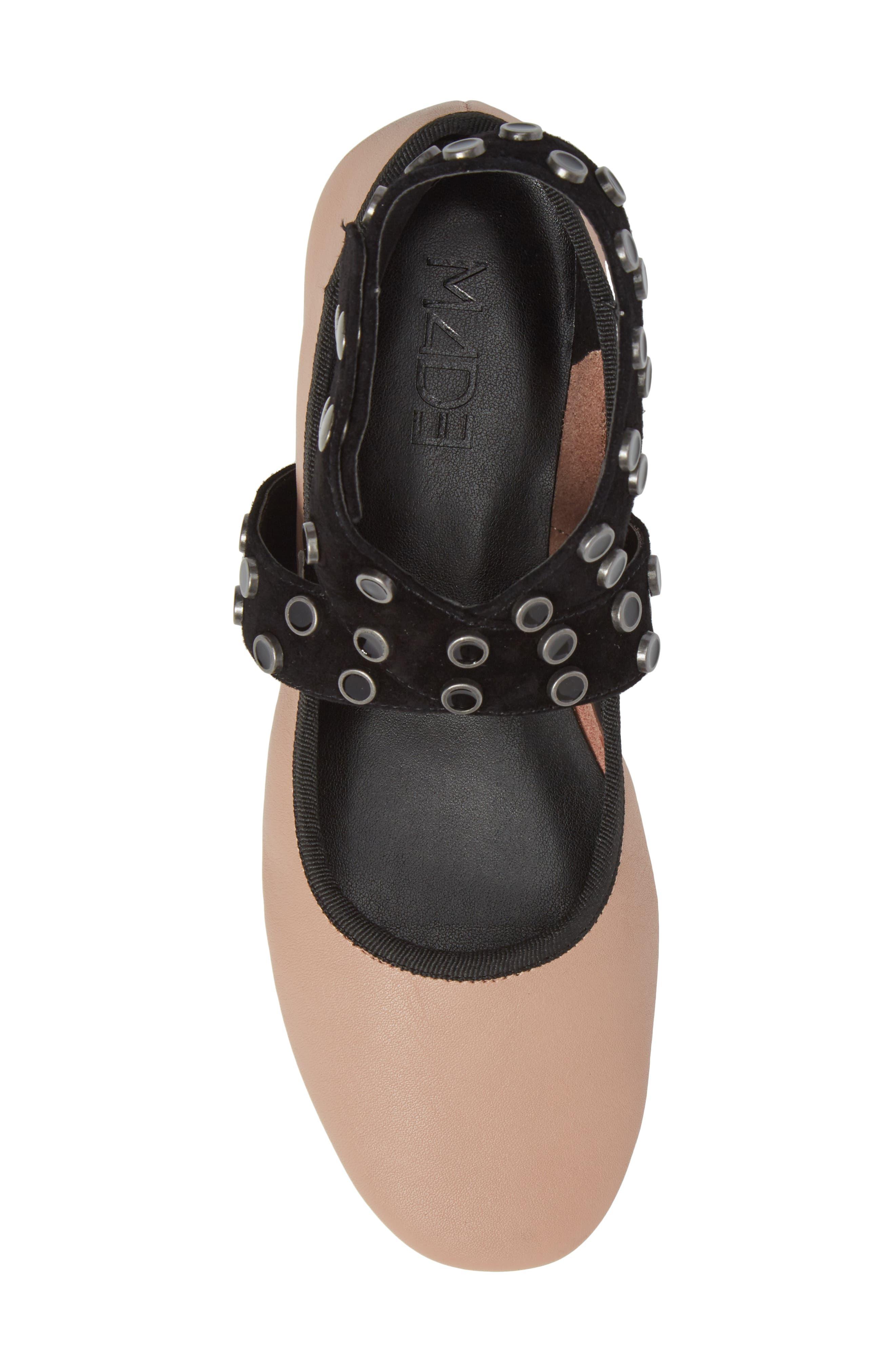 M4D3 Carla Wraparound Ankle Strap Flat,                             Alternate thumbnail 5, color,                             Blush Leather