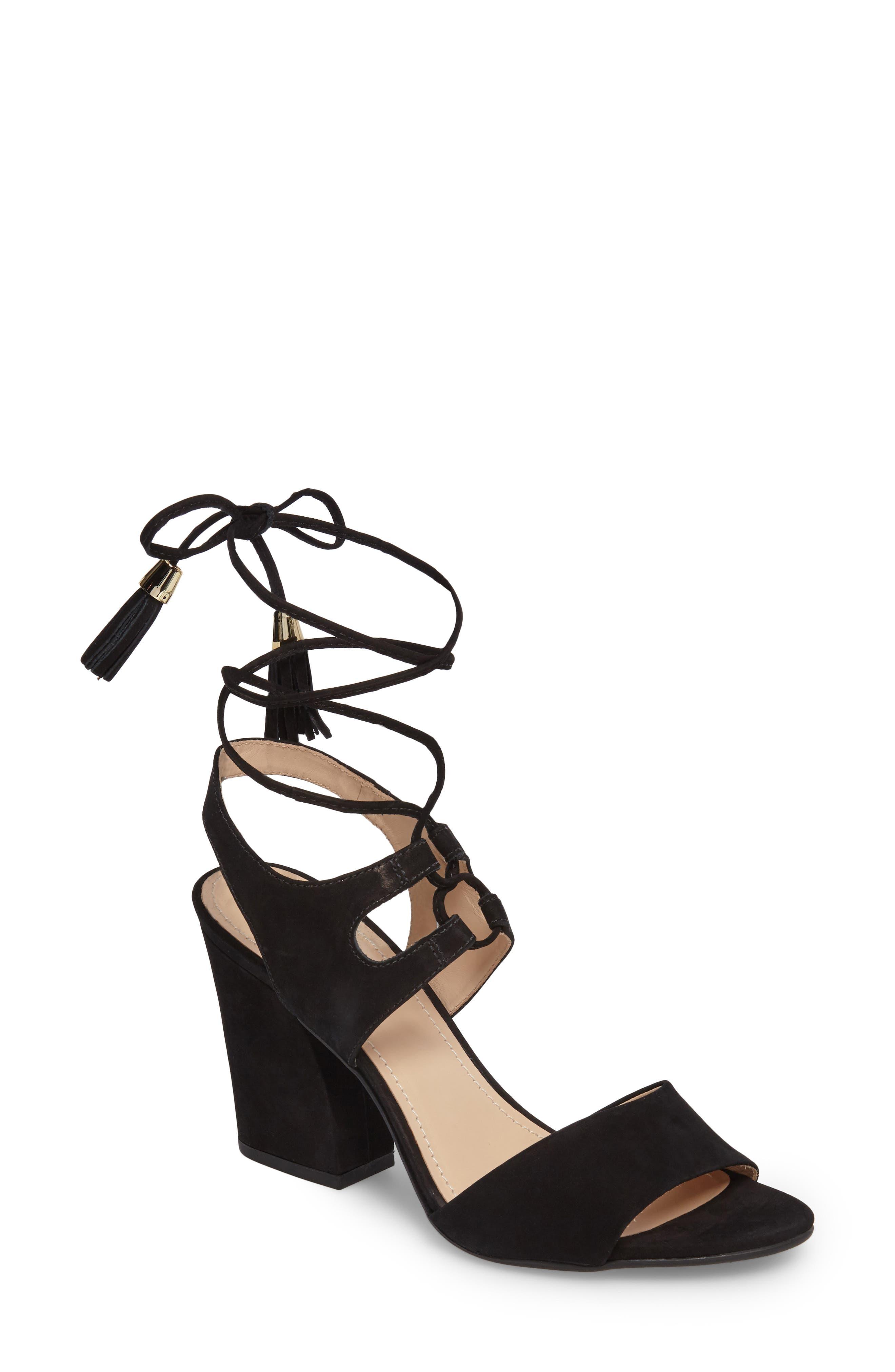 Kaira Ankle Wrap Sandal,                             Main thumbnail 1, color,                             Black Nubuck Leather