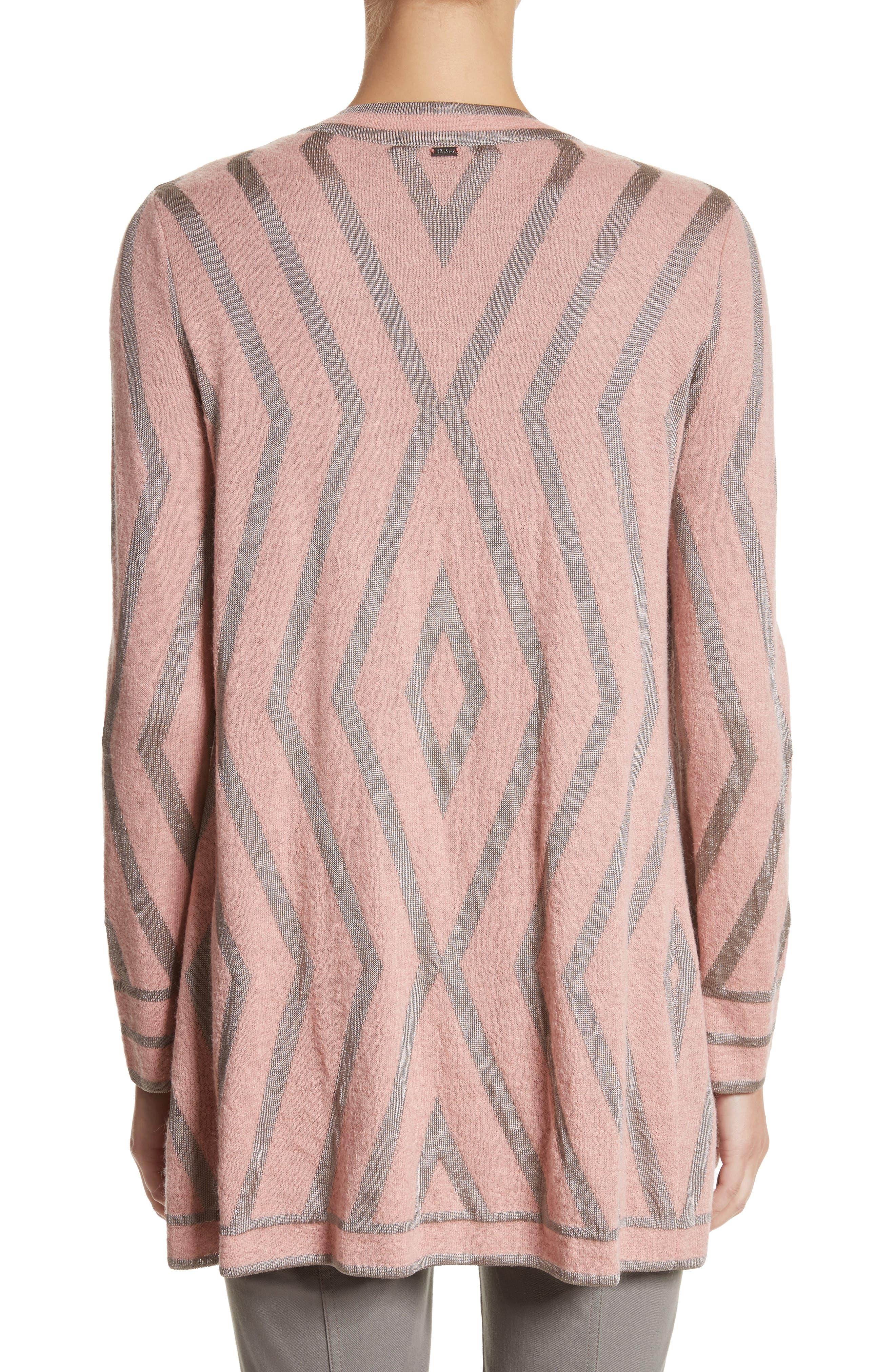 Alternate Image 2  - St. John Collection Matte Shine Geo Jacquard Knit Cardigan
