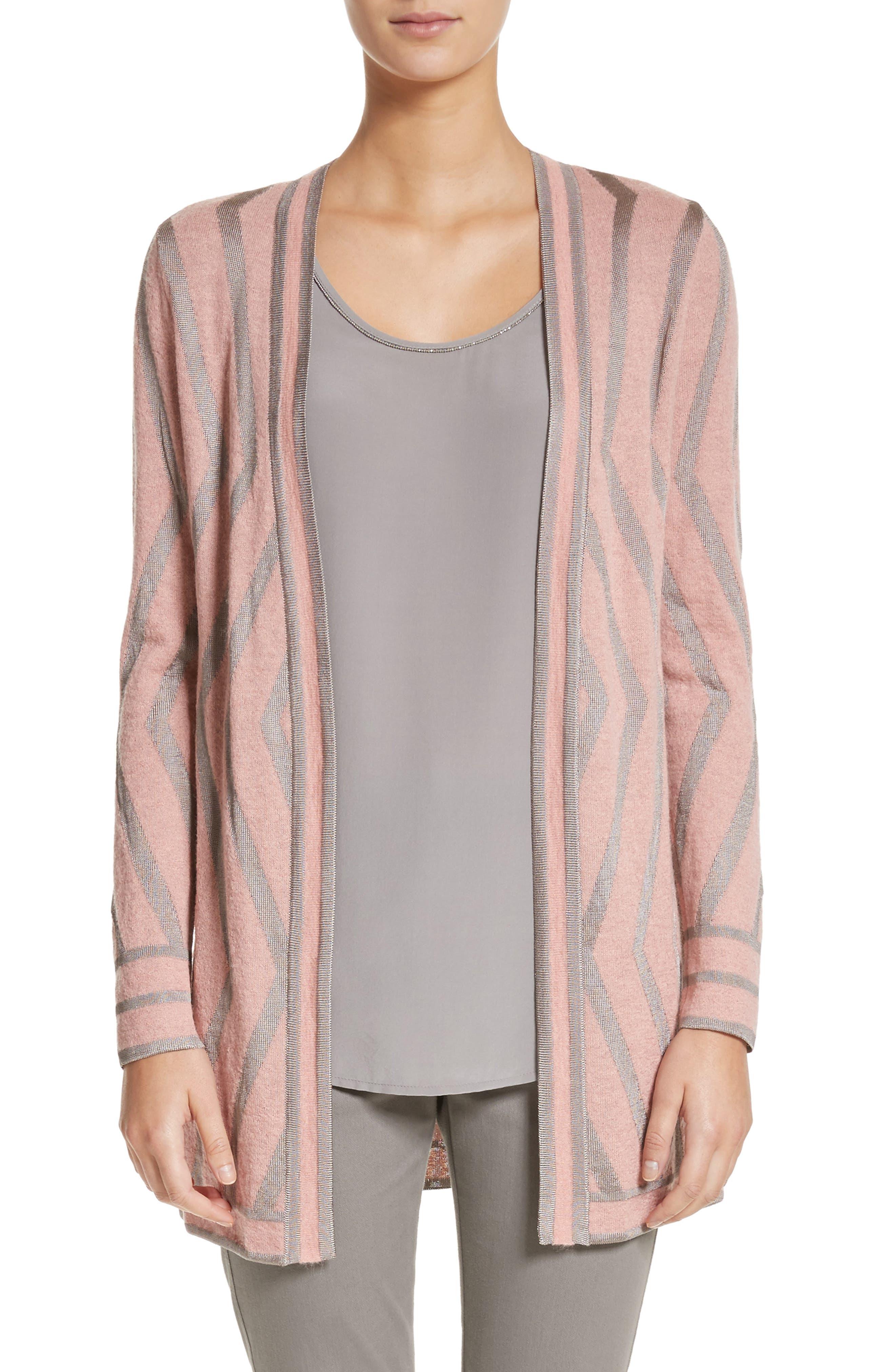 Matte Shine Geo Jacquard Knit Cardigan,                         Main,                         color, Blush Melange/Travertine